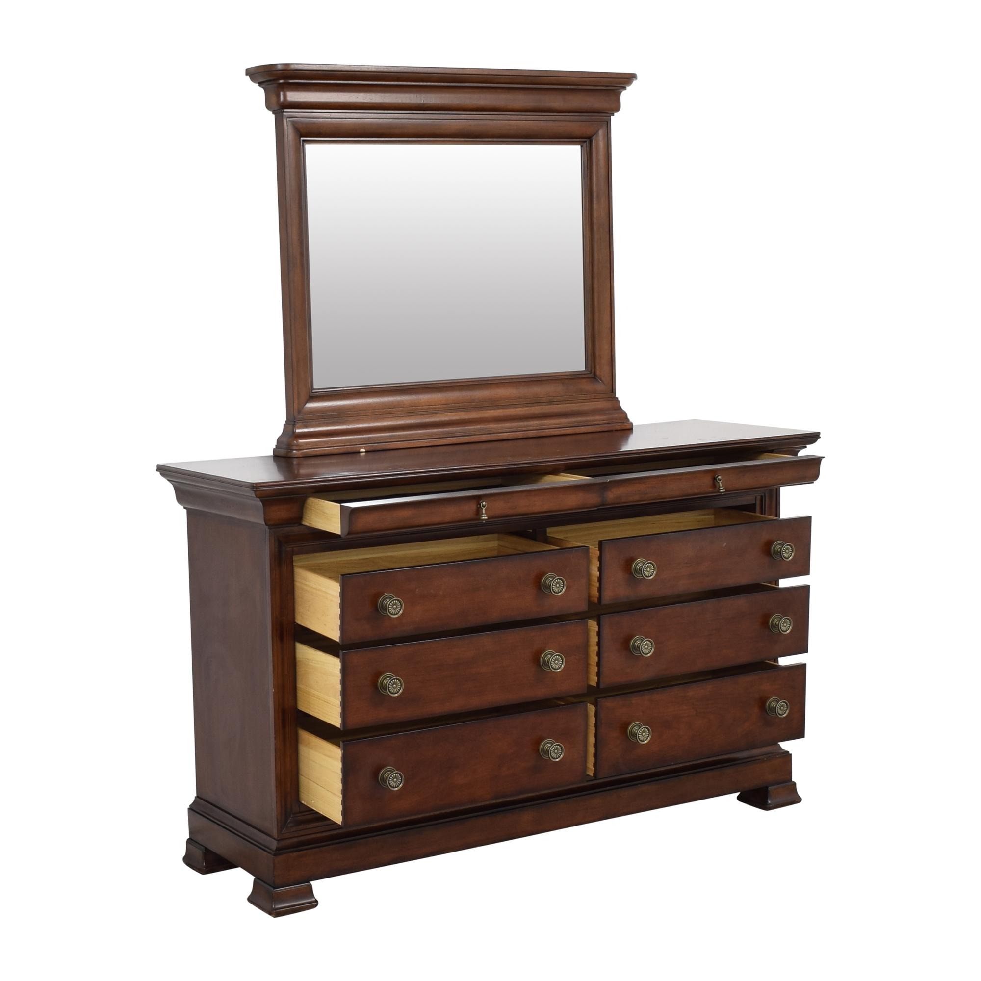 Bassett Furniture Bassett Eight Drawer Dresser with Mirror brown