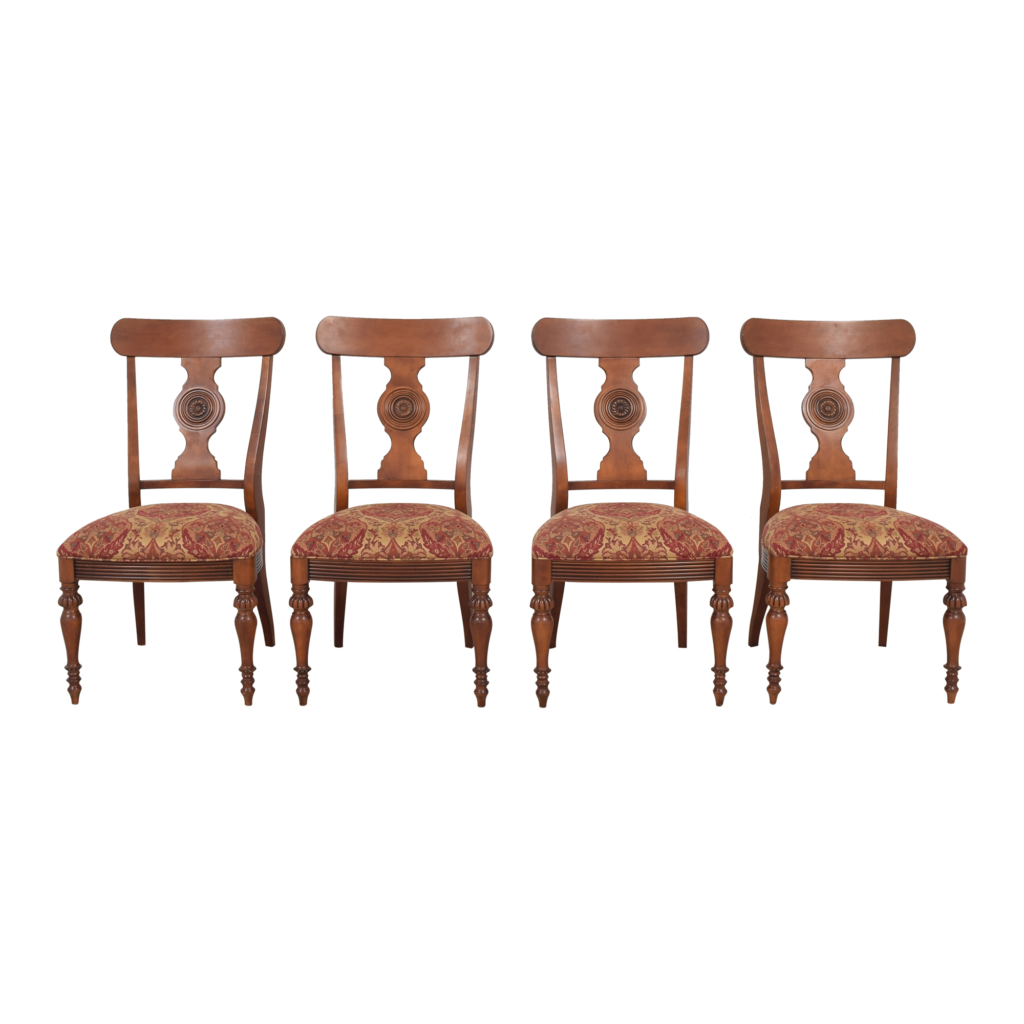 Ethan Allen Ethan Allen British Classic Splatback Dining Chairs brown and red