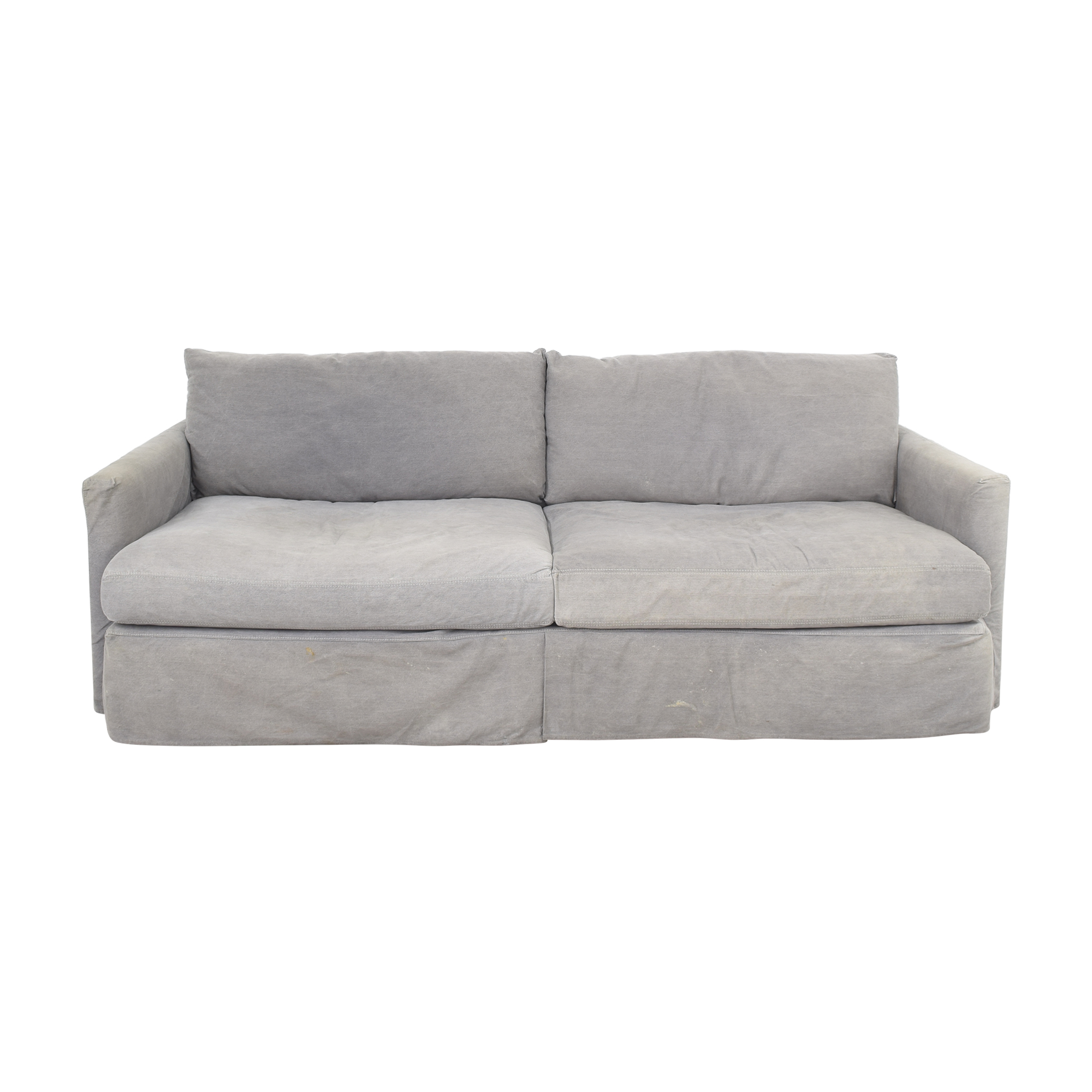 Crate & Barrel Crate & Barrel Lounge II Sofa with Two Ottomans on Casters gray