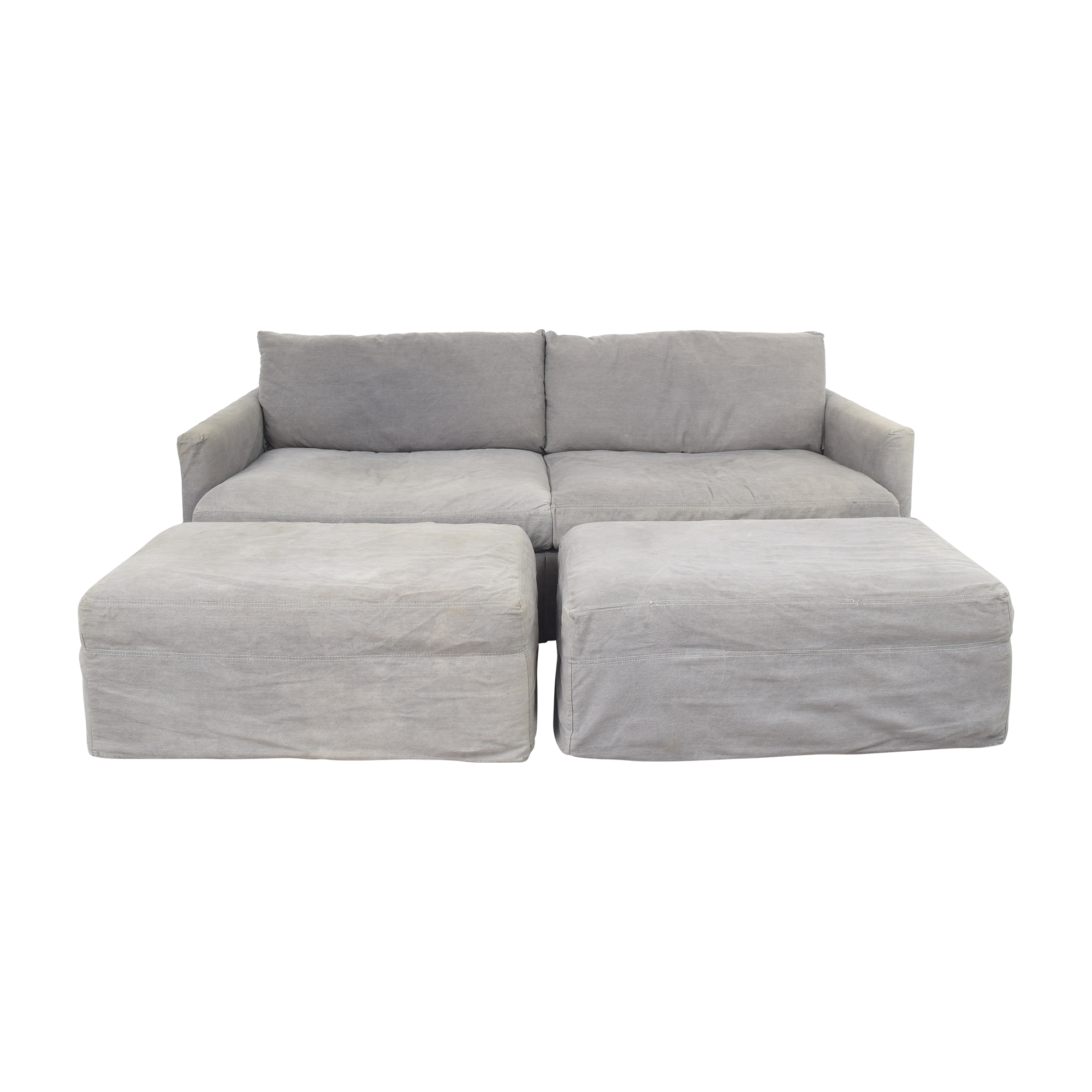 Crate & Barrel Crate & Barrel Lounge II Sofa with Two Ottomans on Casters nj
