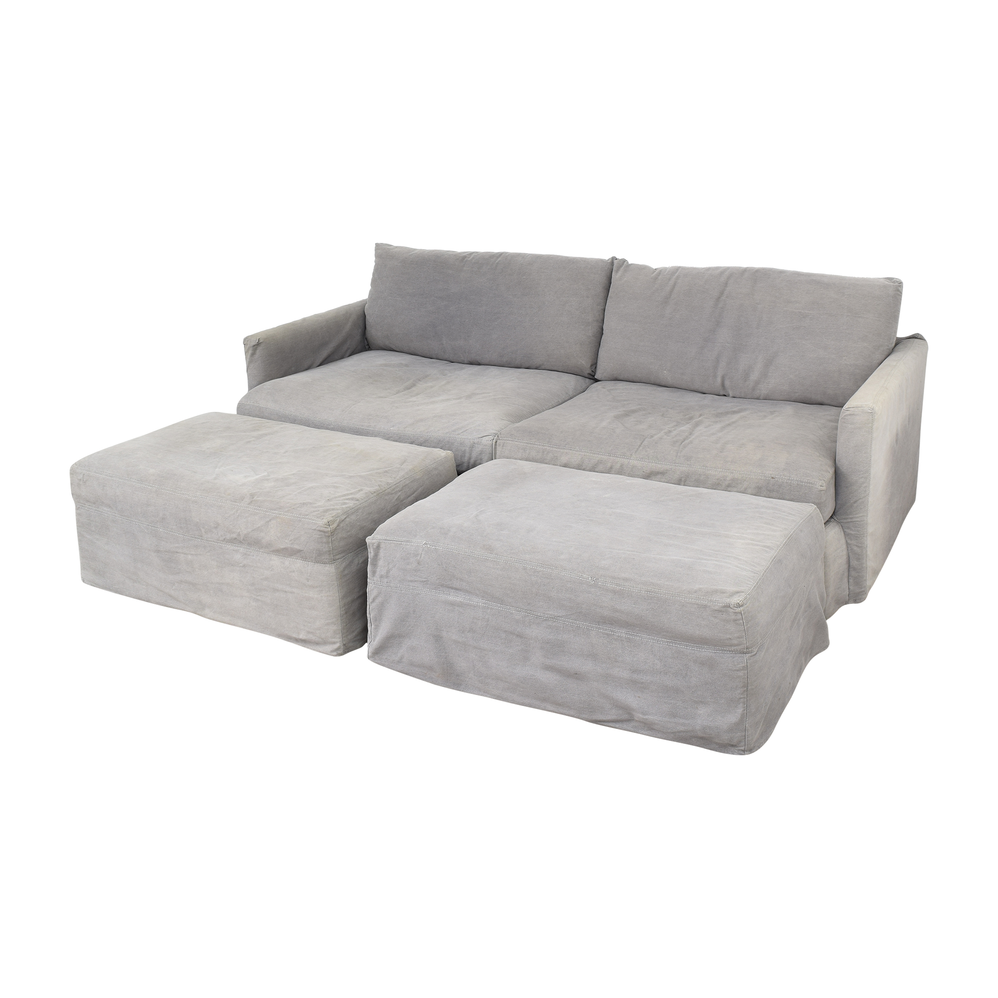 Crate & Barrel Crate & Barrel Lounge II Sofa with Two Ottomans on Casters coupon
