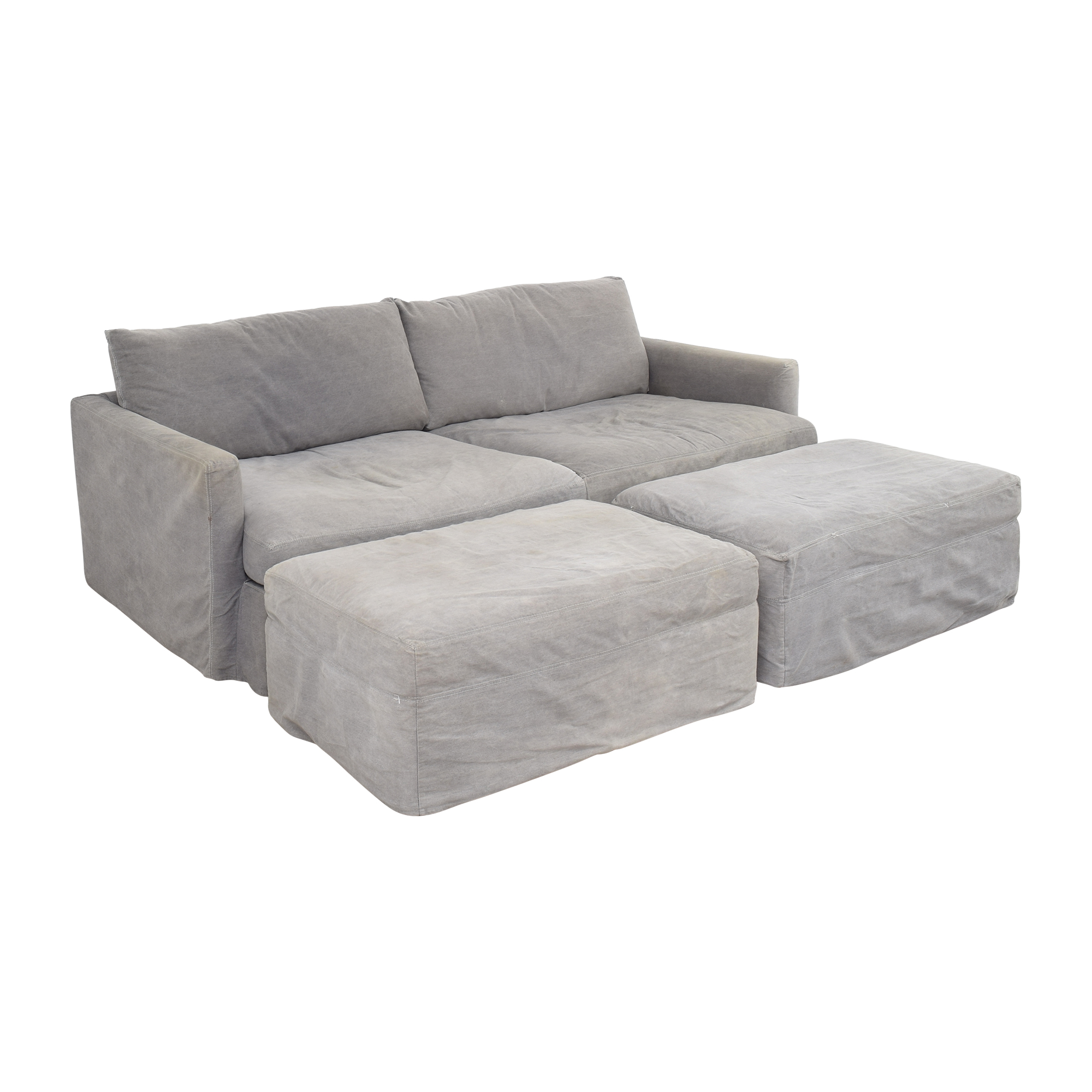 Crate & Barrel Lounge II Sofa with Two Ottomans on Casters / Sofas