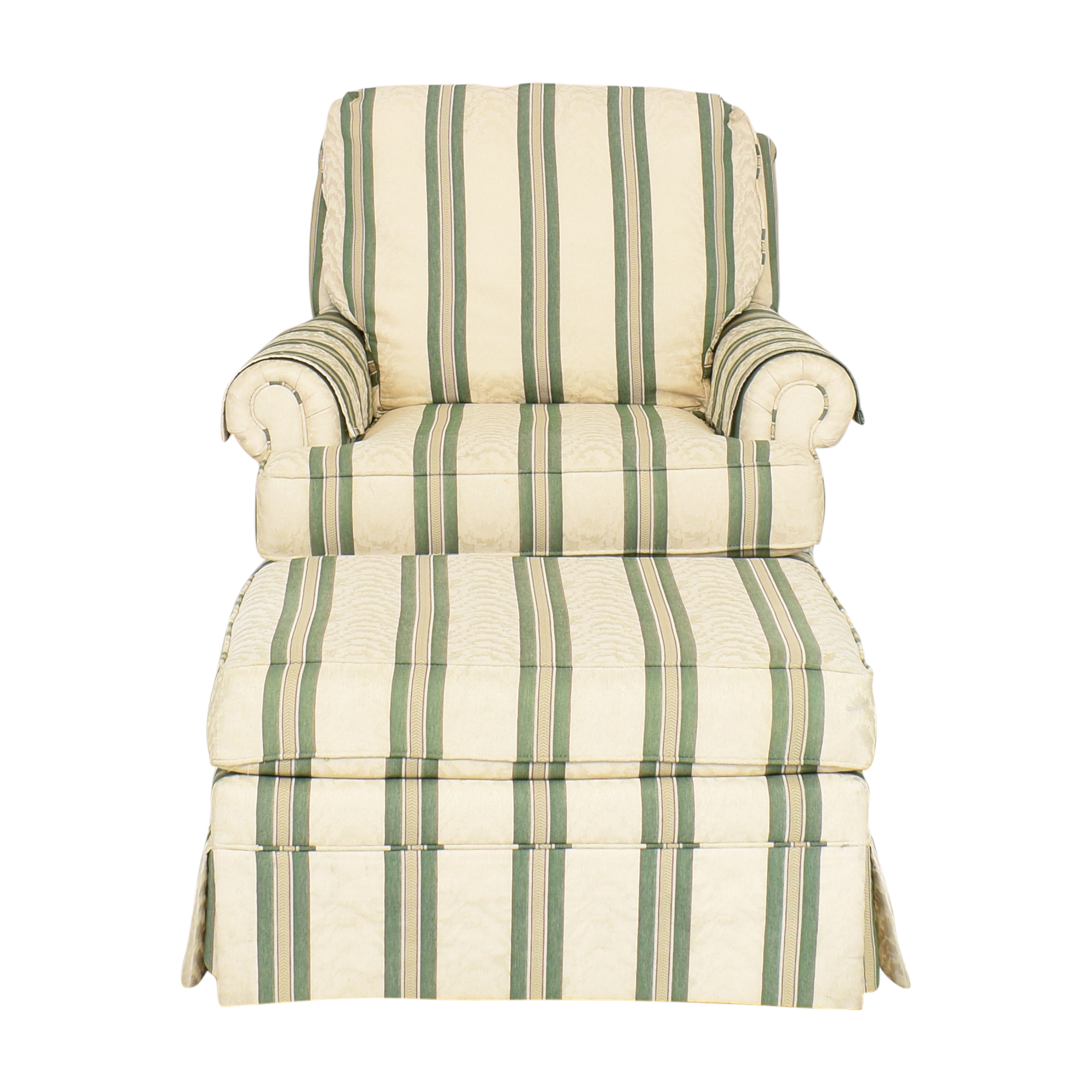 Pembrook Chair Pembrook Chair Upholstered Accent Chair and Ottoman beige and green