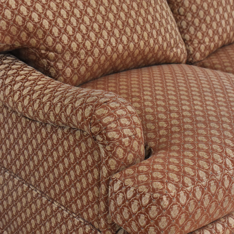 Three Cushion Skirted Sofa with Pillows sale