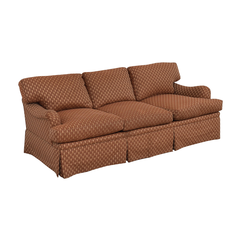 Three Cushion Skirted Sofa with Pillows nyc