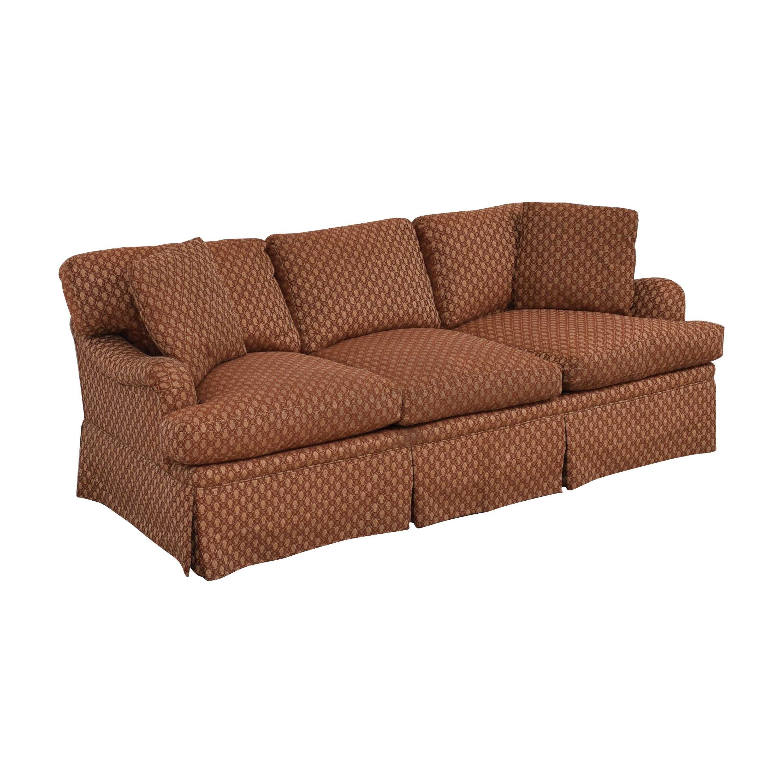 Three Cushion Skirted Sofa with Pillows on sale
