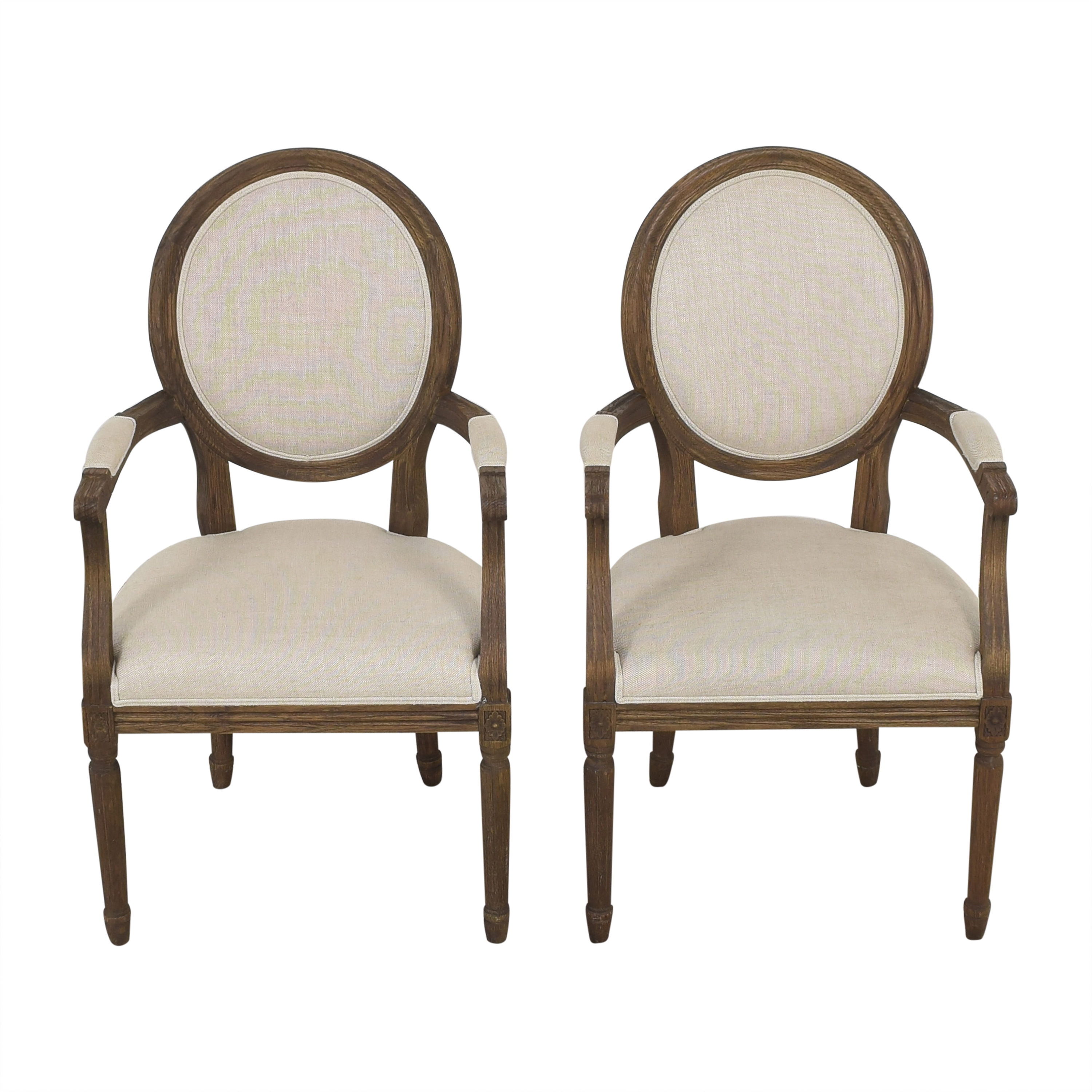 Restoration Hardware Restoration Hardware Vintage French Round Dining Arm Chairs pa