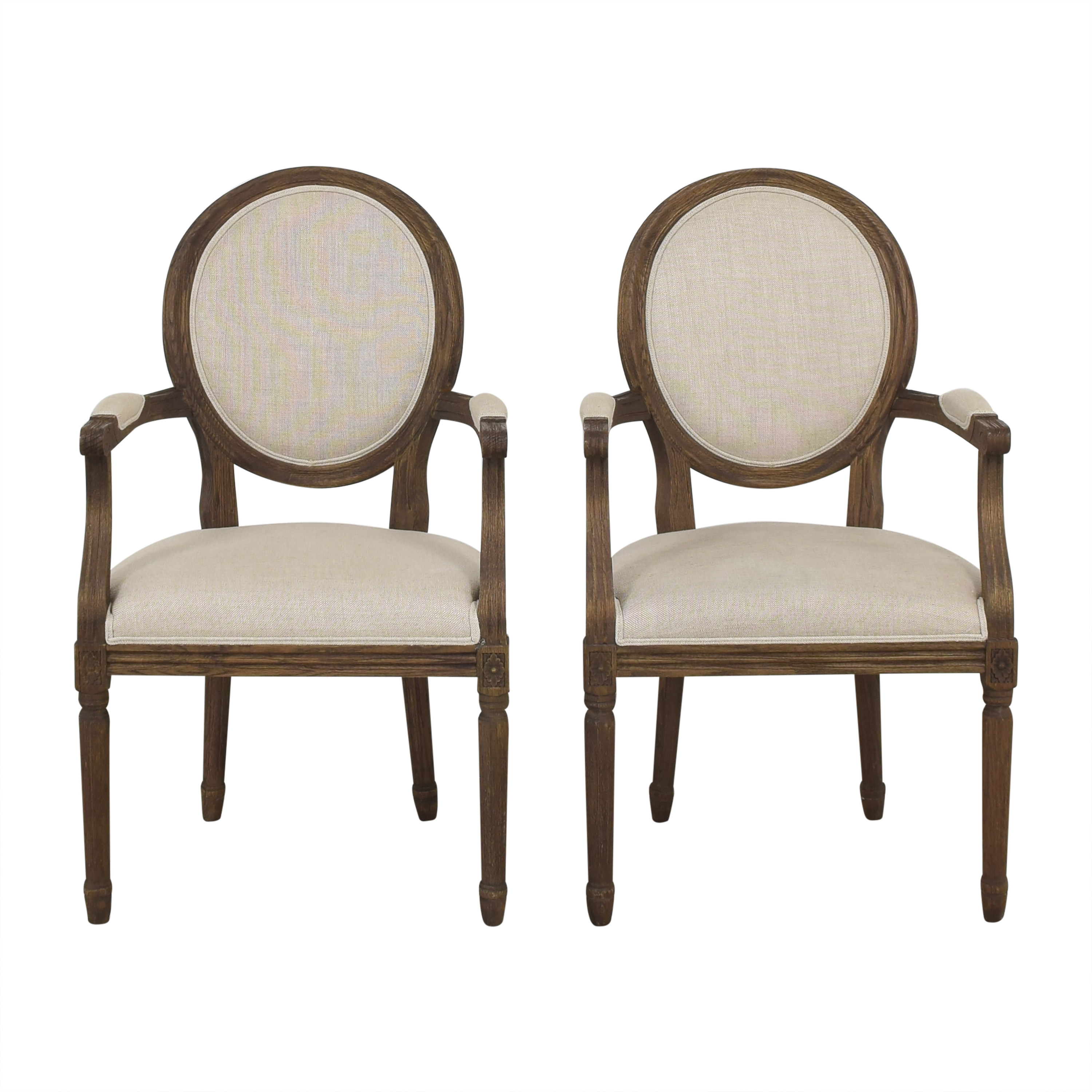 Restoration Hardware Restoration Hardware Vintage French Round Dining Arm Chairs