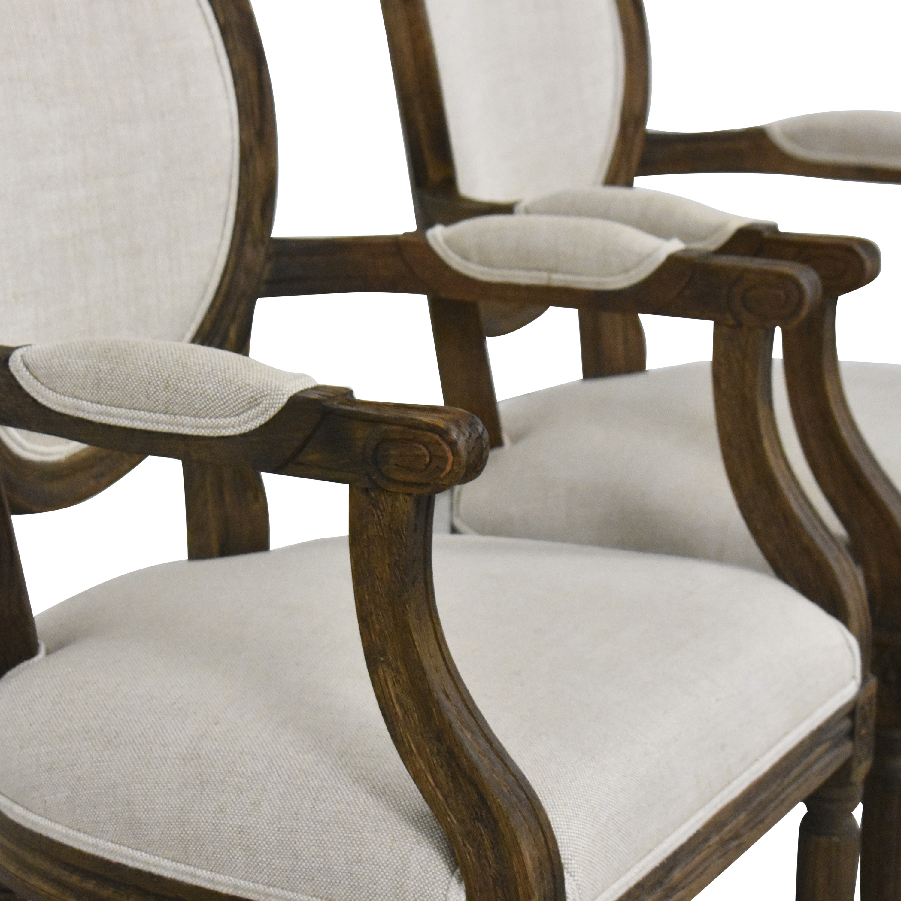 Restoration Hardware Vintage French Round Dining Arm Chairs / Dining Chairs