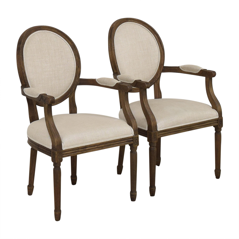 Restoration Hardware Vintage French Round Dining Arm Chairs Restoration Hardware