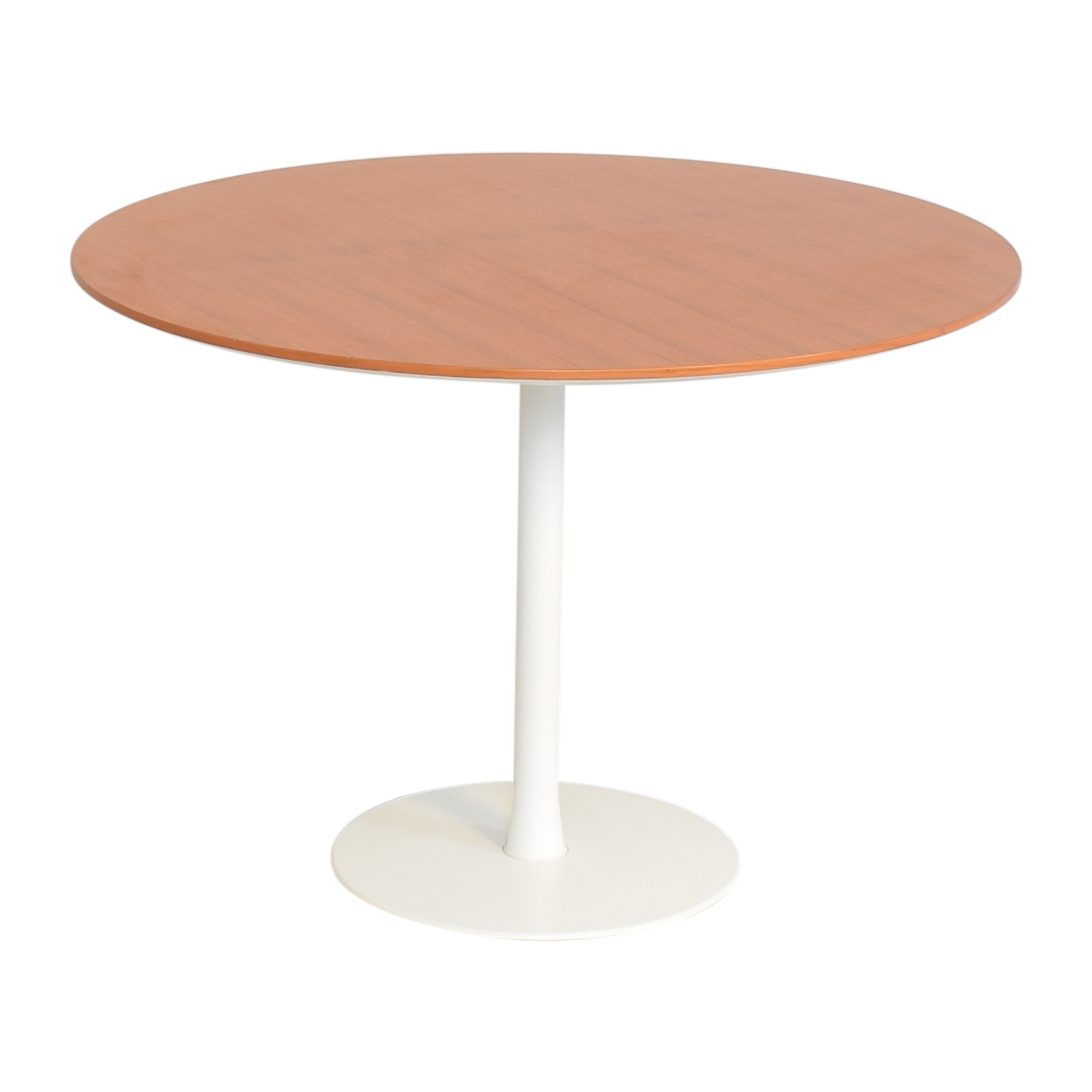 Round Top Pedestal Dining Table brown, white