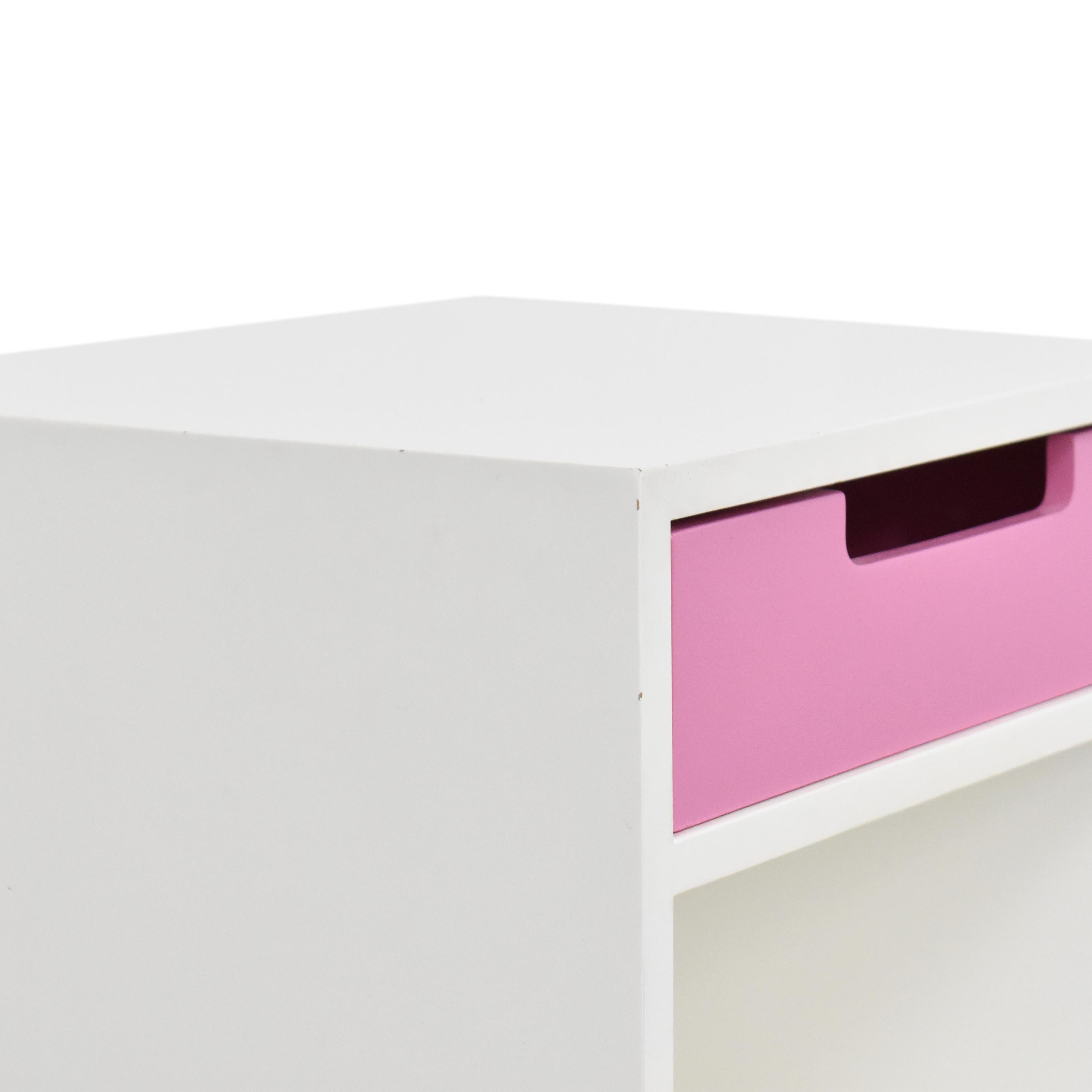 ducduc ducduc Single Drawer Nightstand white and pink