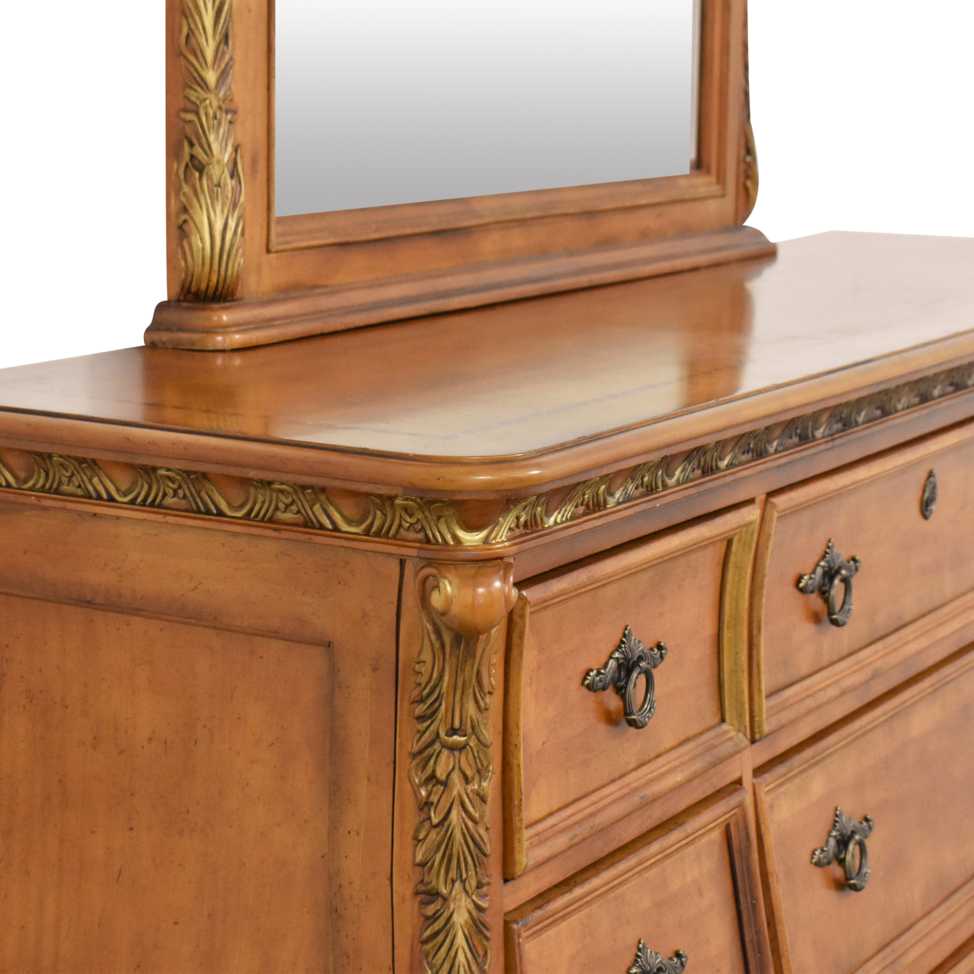 Triple Bombe Dresser with Mirror brown