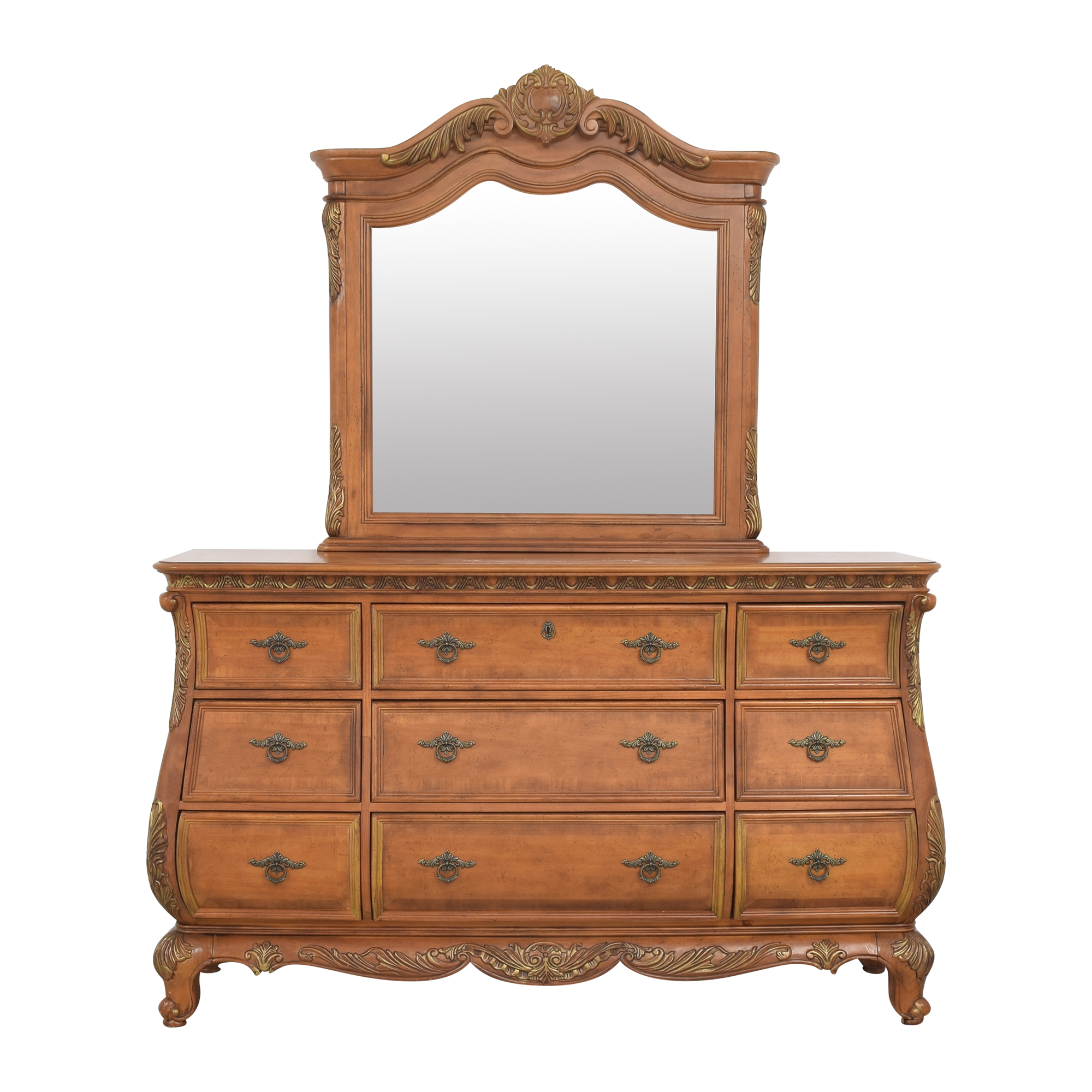 Triple Bombe Dresser with Mirror