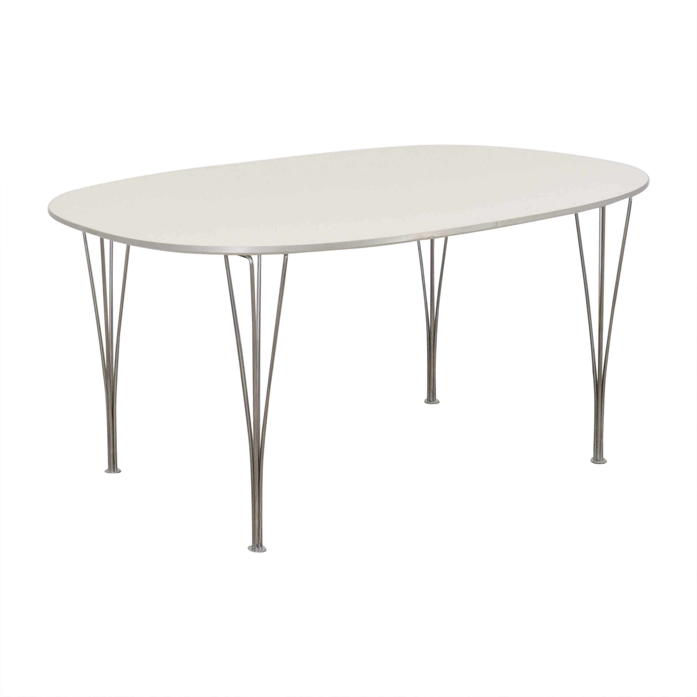 Fritz Hansen Fritz Hansen Super-Elliptical Table by Piet Hein white & silver