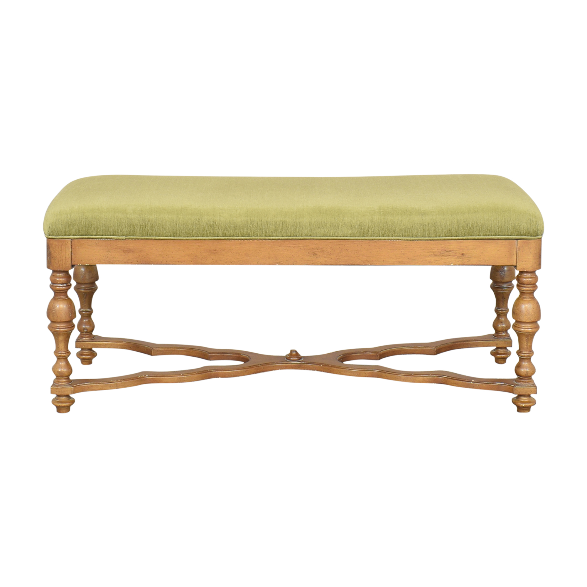 Custom Upholstered Bench green and light brown