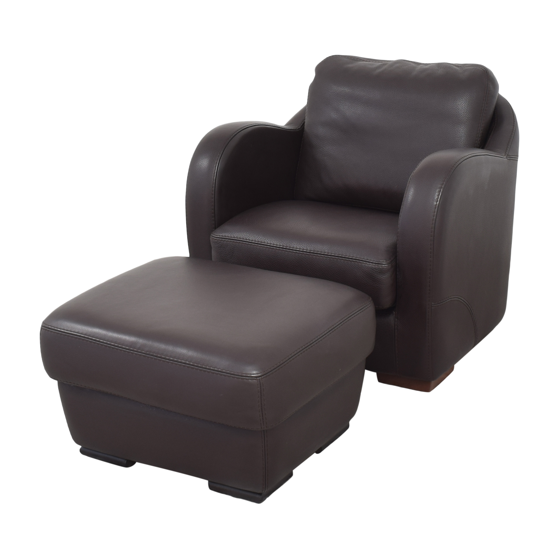 Maurice Villency Maurice Villency Club Chair with Ottoman dark brown