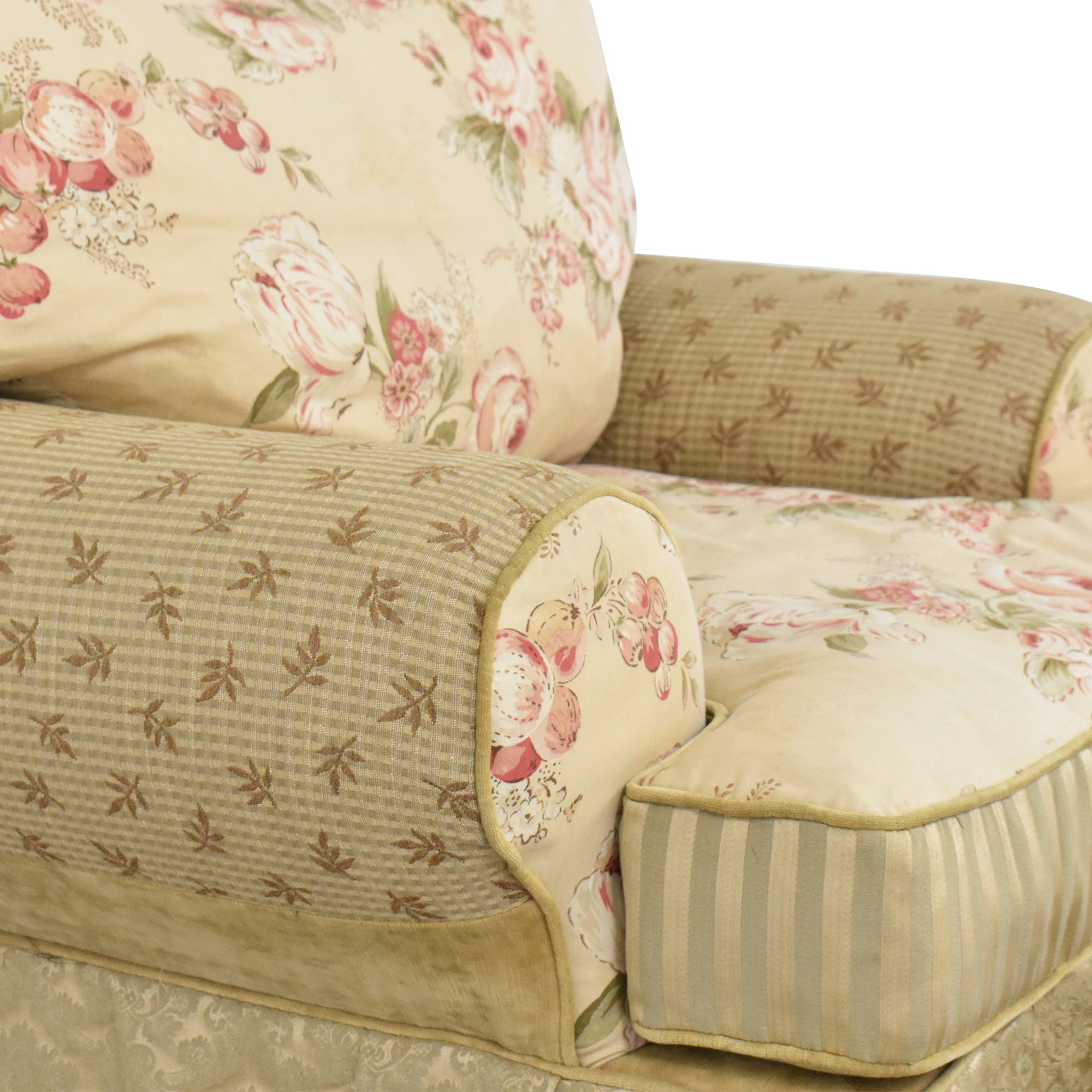 Domain Home Domain Home Floral and Stripe Accent Chair with Ottoman used