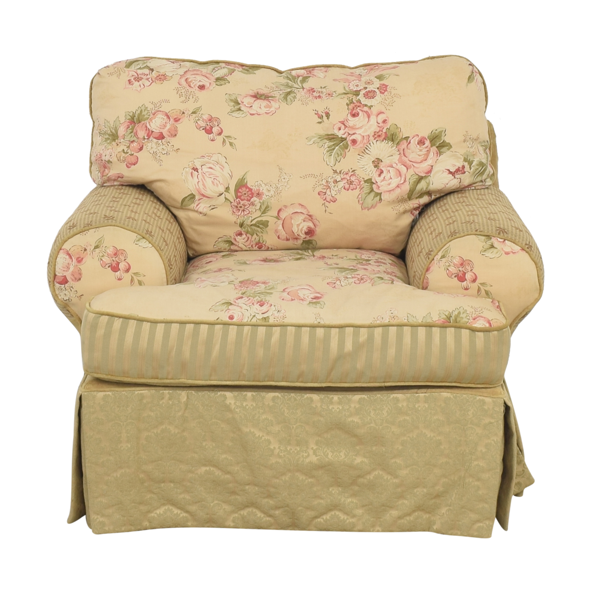 Domain Home Domain Home Floral and Stripe Accent Chair with Ottoman pa
