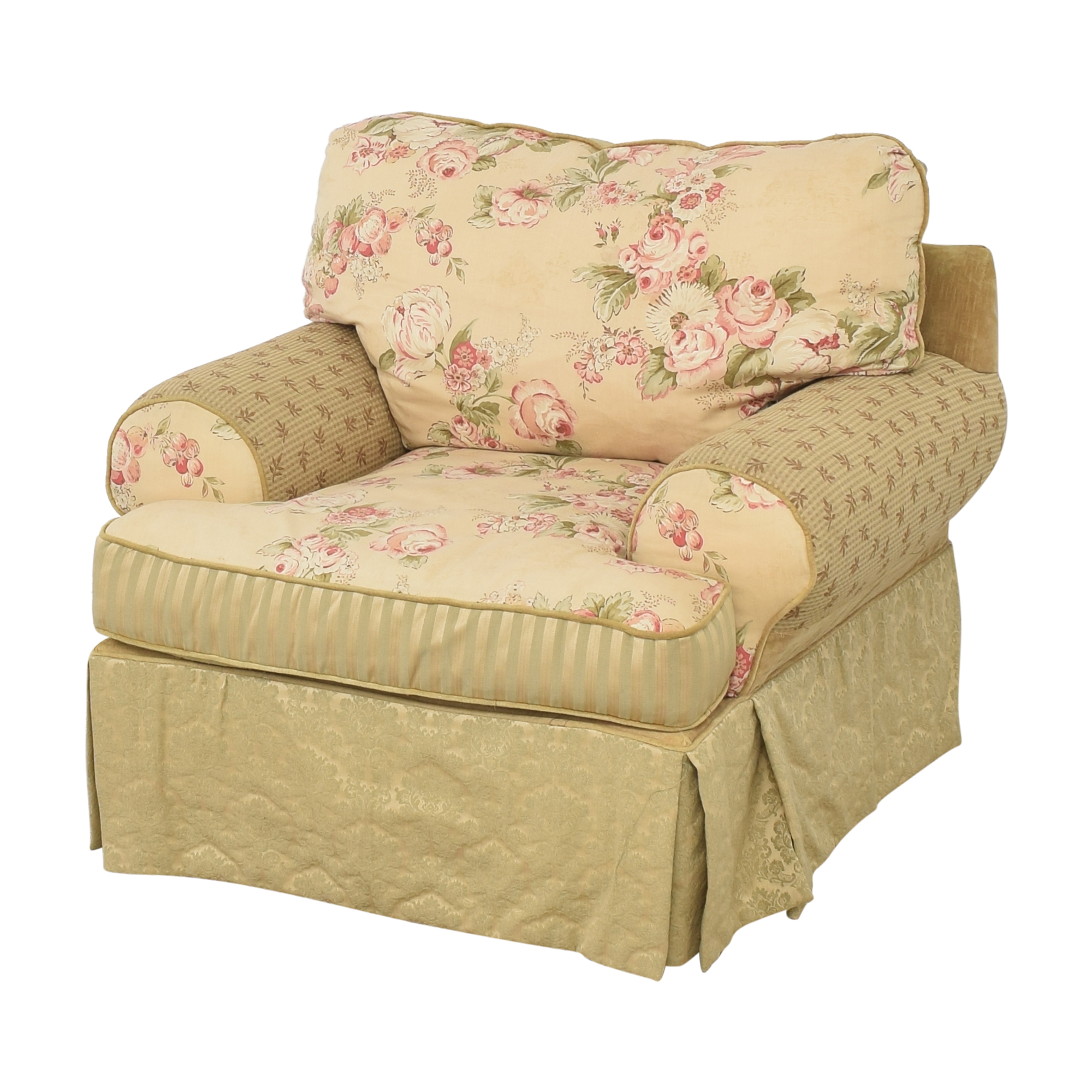 buy Domain Home Floral and Stripe Accent Chair with Ottoman Domain Home Accent Chairs