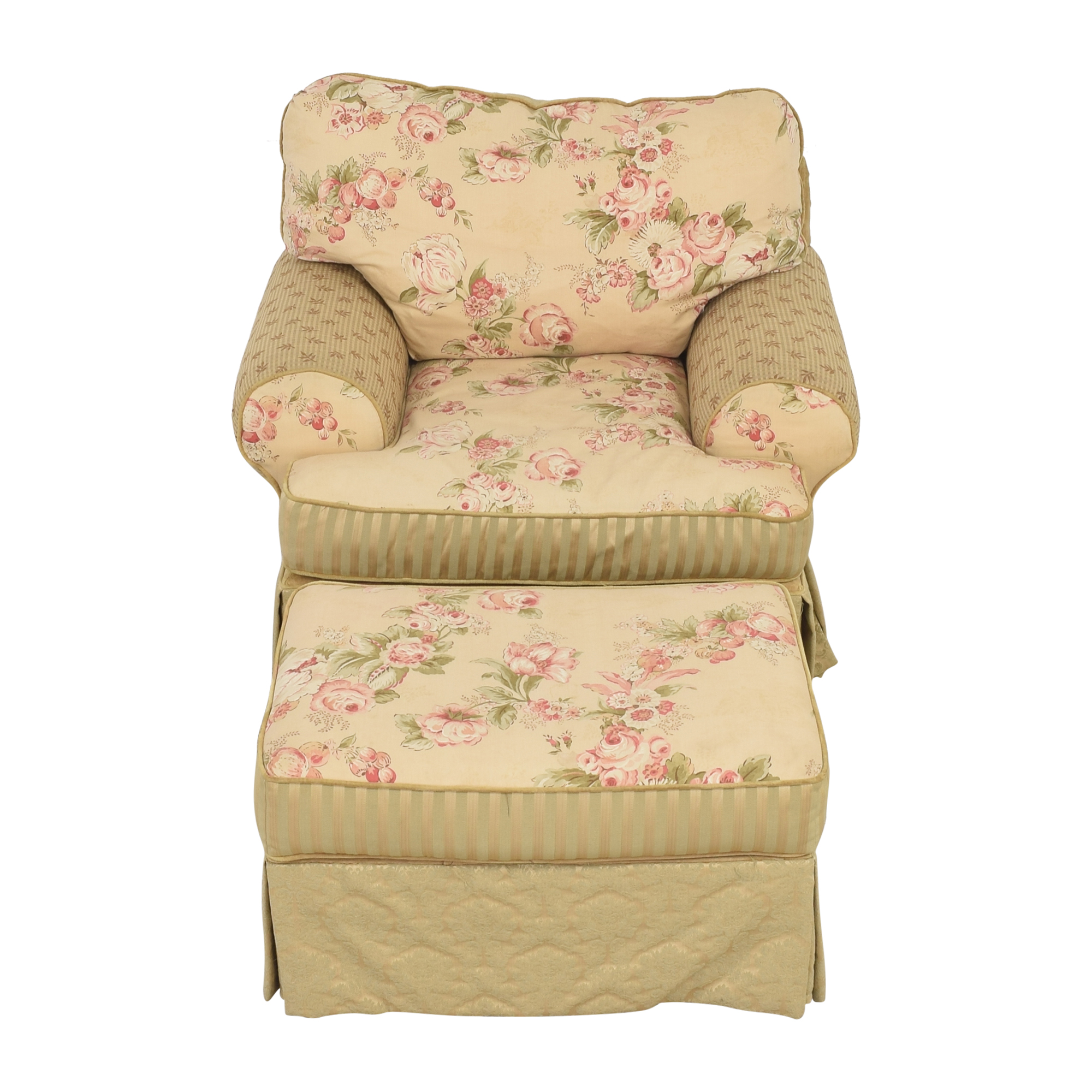 Domain Home Domain Home Floral and Stripe Accent Chair with Ottoman on sale