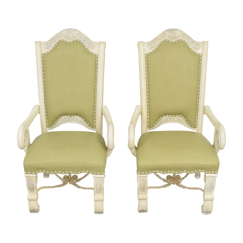 AICO AICO Monte Carlo Snow Dining Arm Chairs nyc