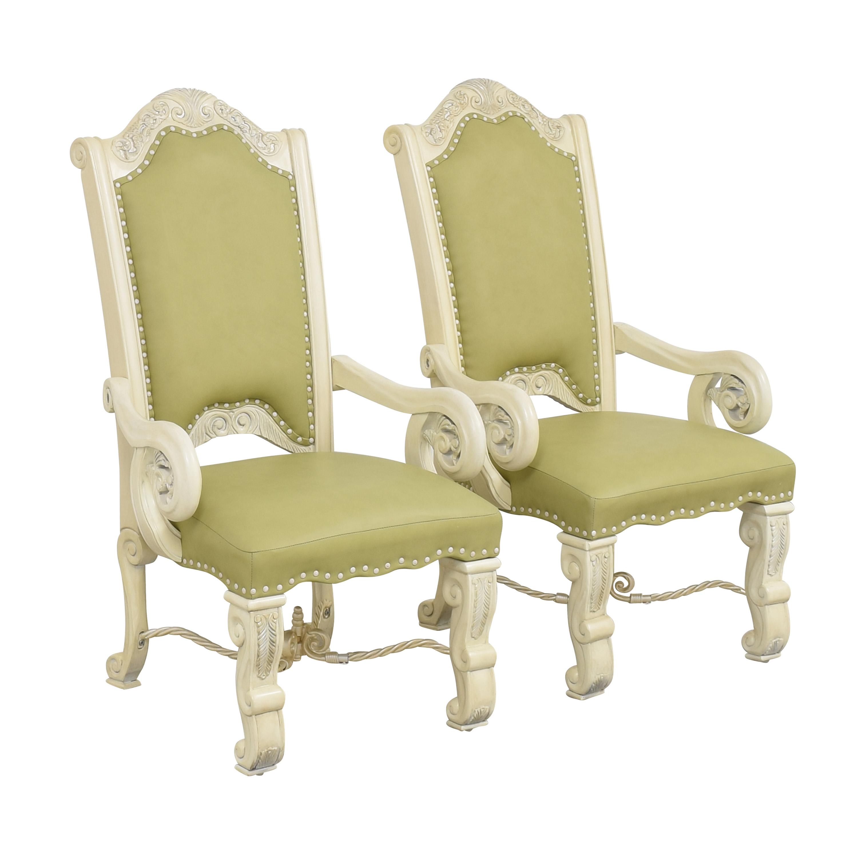 buy AICO Monte Carlo Snow Dining Arm Chairs AICO Chairs