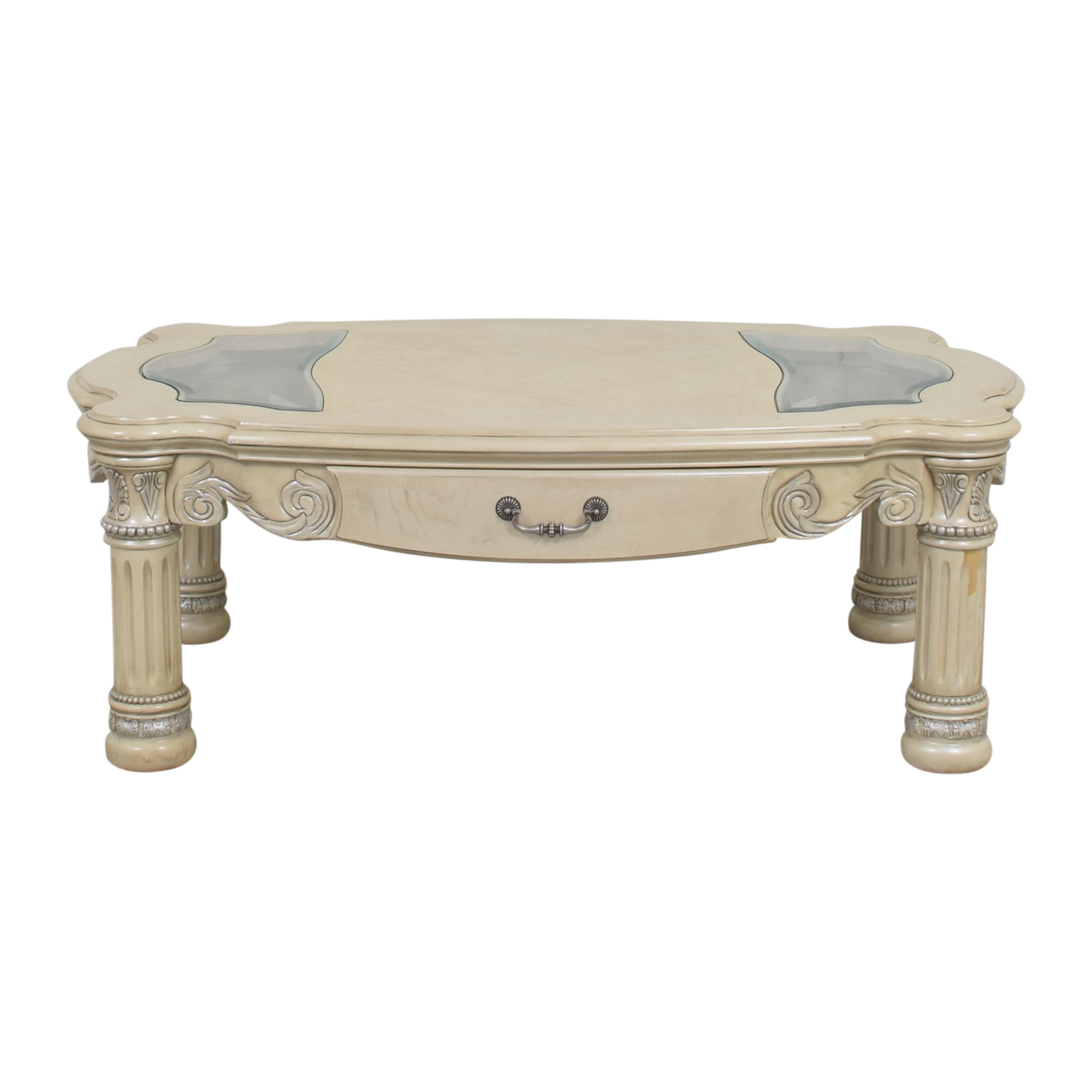 buy AICO Monte Carlo Cocktail Table in Silver Pearl AICO Tables