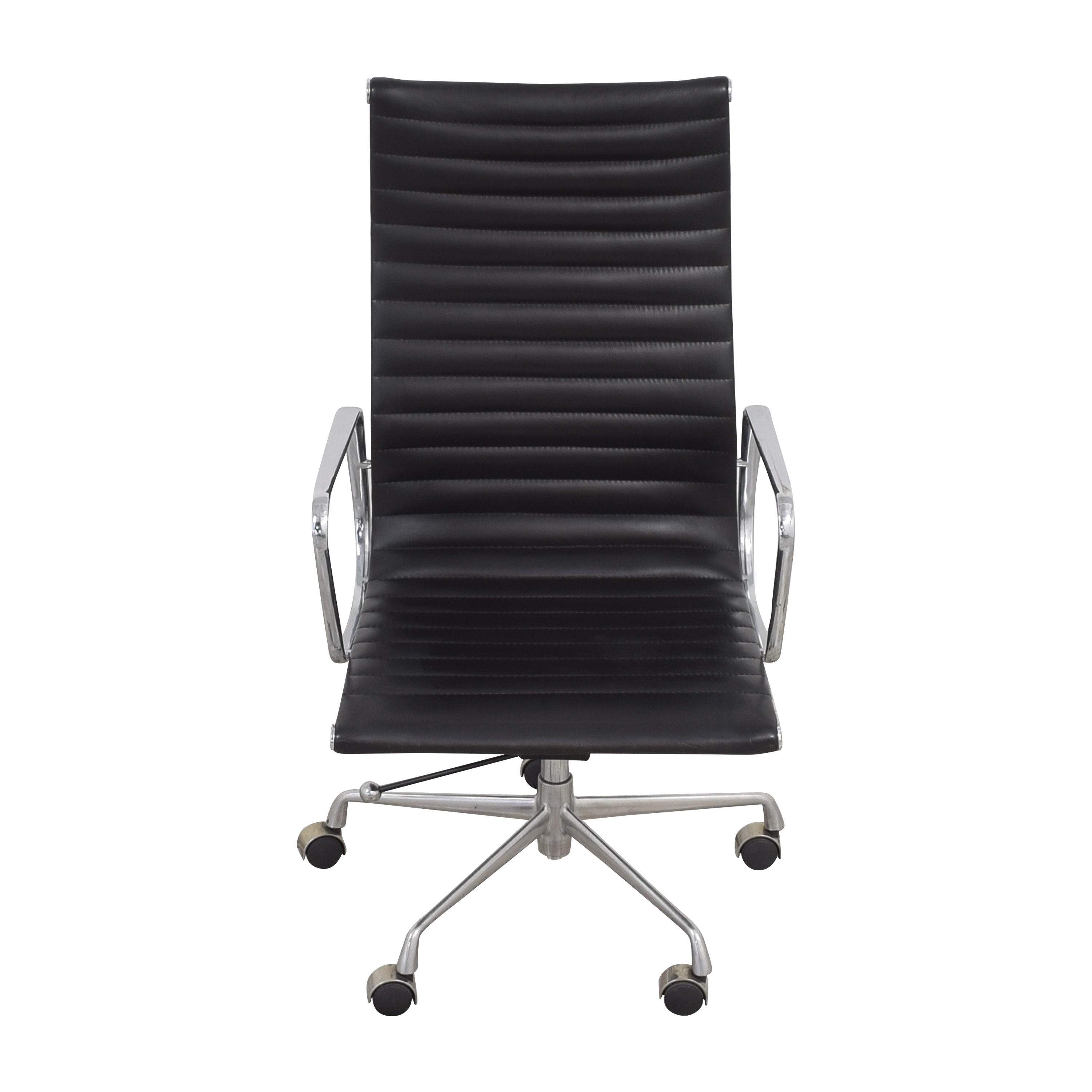 Eames-Style High Back Ribbed Office Chair black & silver
