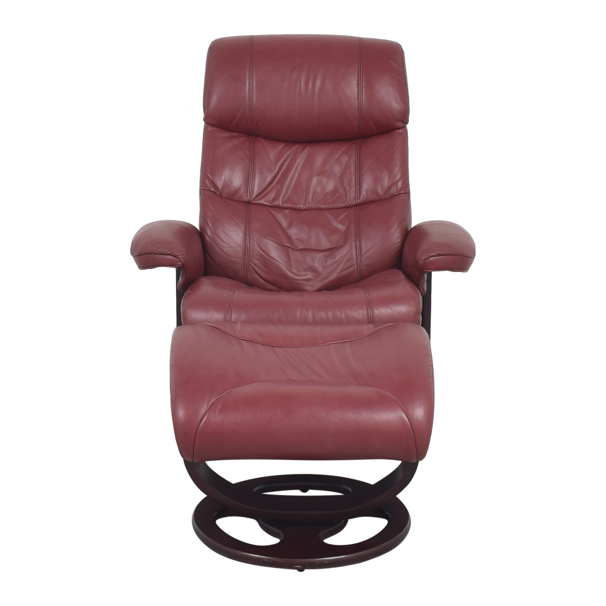 Lane Furniture Lane Furniture Rebel Recliner Chair and Ottoman red and dark brown