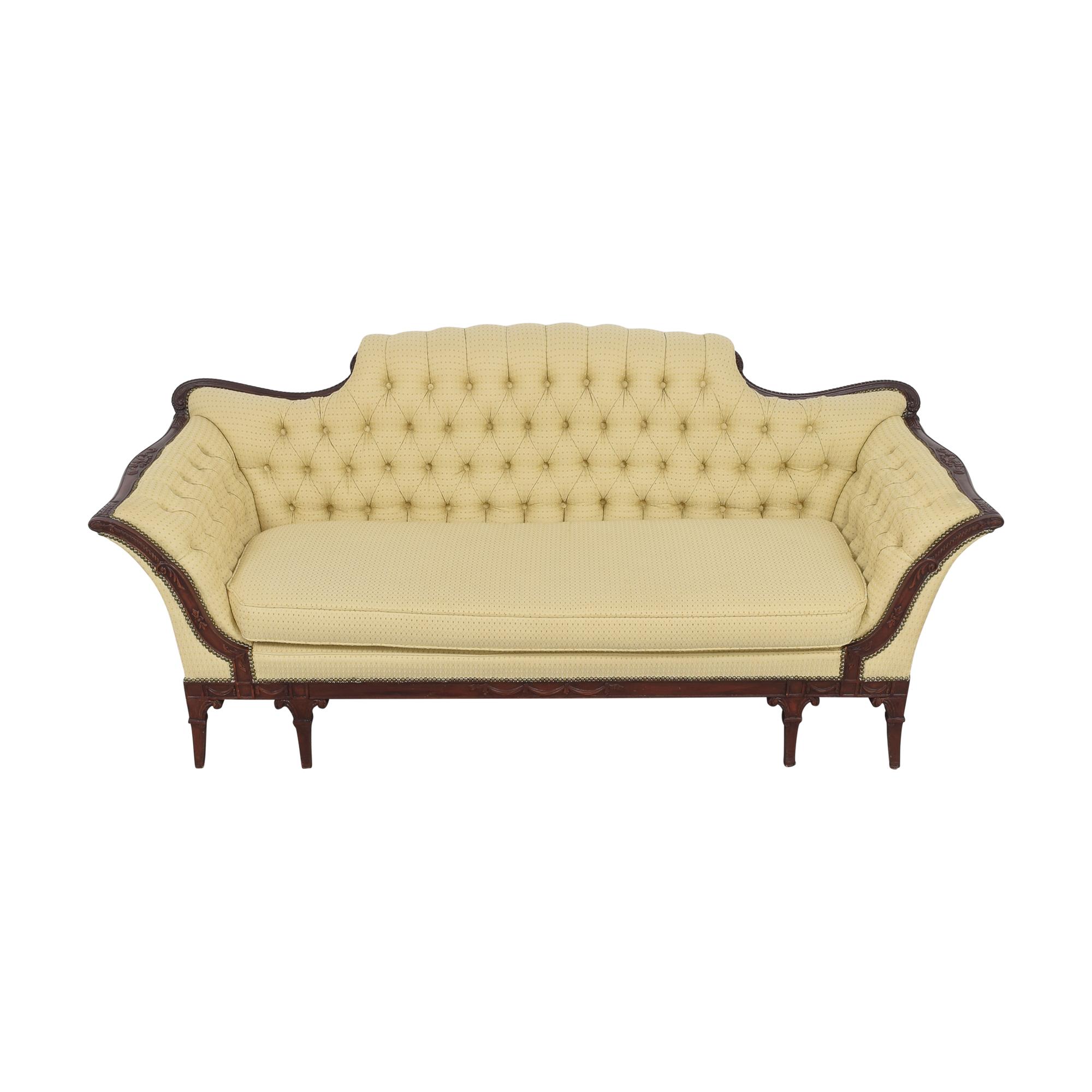 Vintage Tufted Camelback Sofa coupon