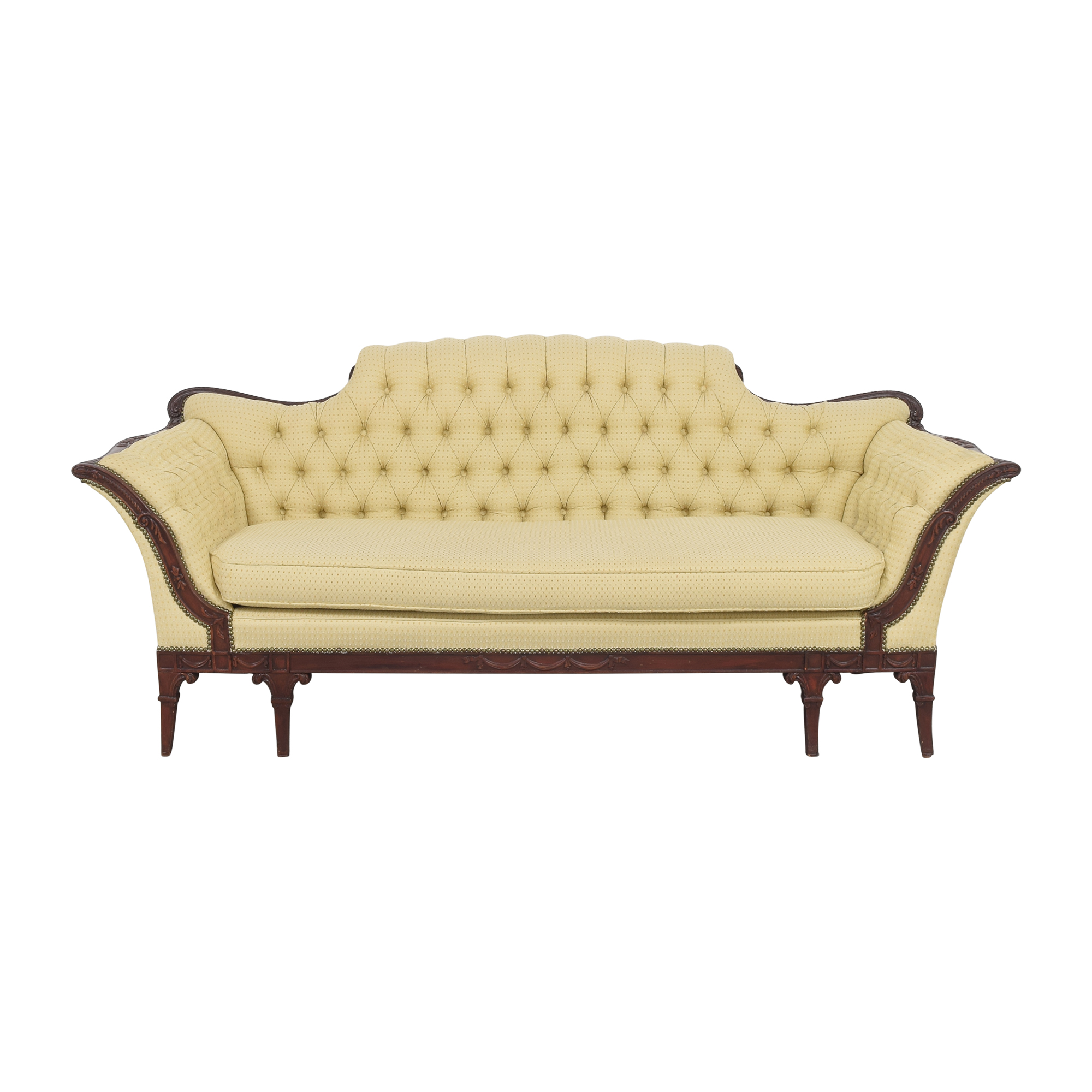 Vintage Tufted Camelback Sofa discount