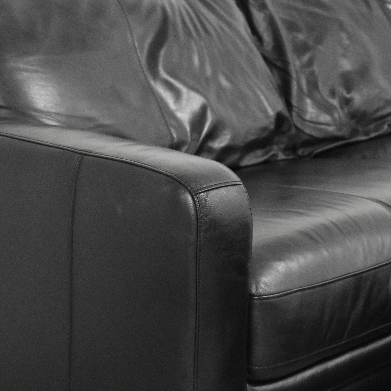 shop Raymour & Flanigan Two Cushion Sofa with Ottoman Raymour & Flanigan Classic Sofas