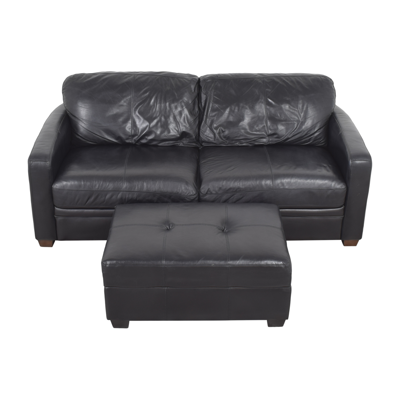 Raymour & Flanigan Raymour & Flanigan Two Cushion Sofa with Ottoman ct
