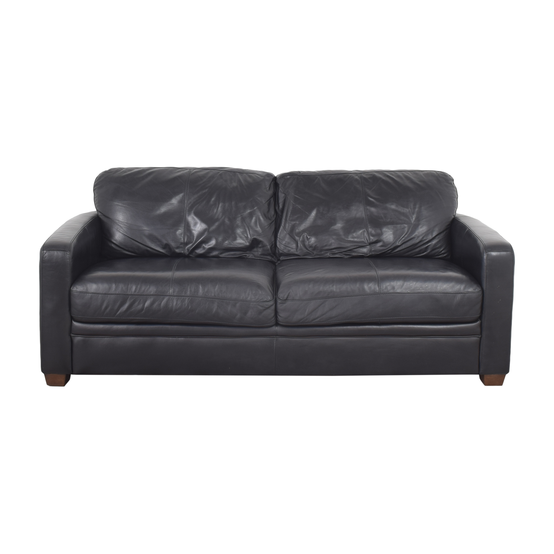 Raymour & Flanigan Two Cushion Sofa with Ottoman / Classic Sofas