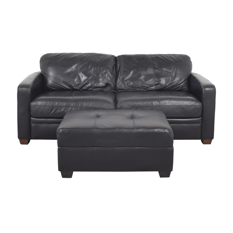 Raymour & Flanigan Raymour & Flanigan Two Cushion Sofa with Ottoman coupon