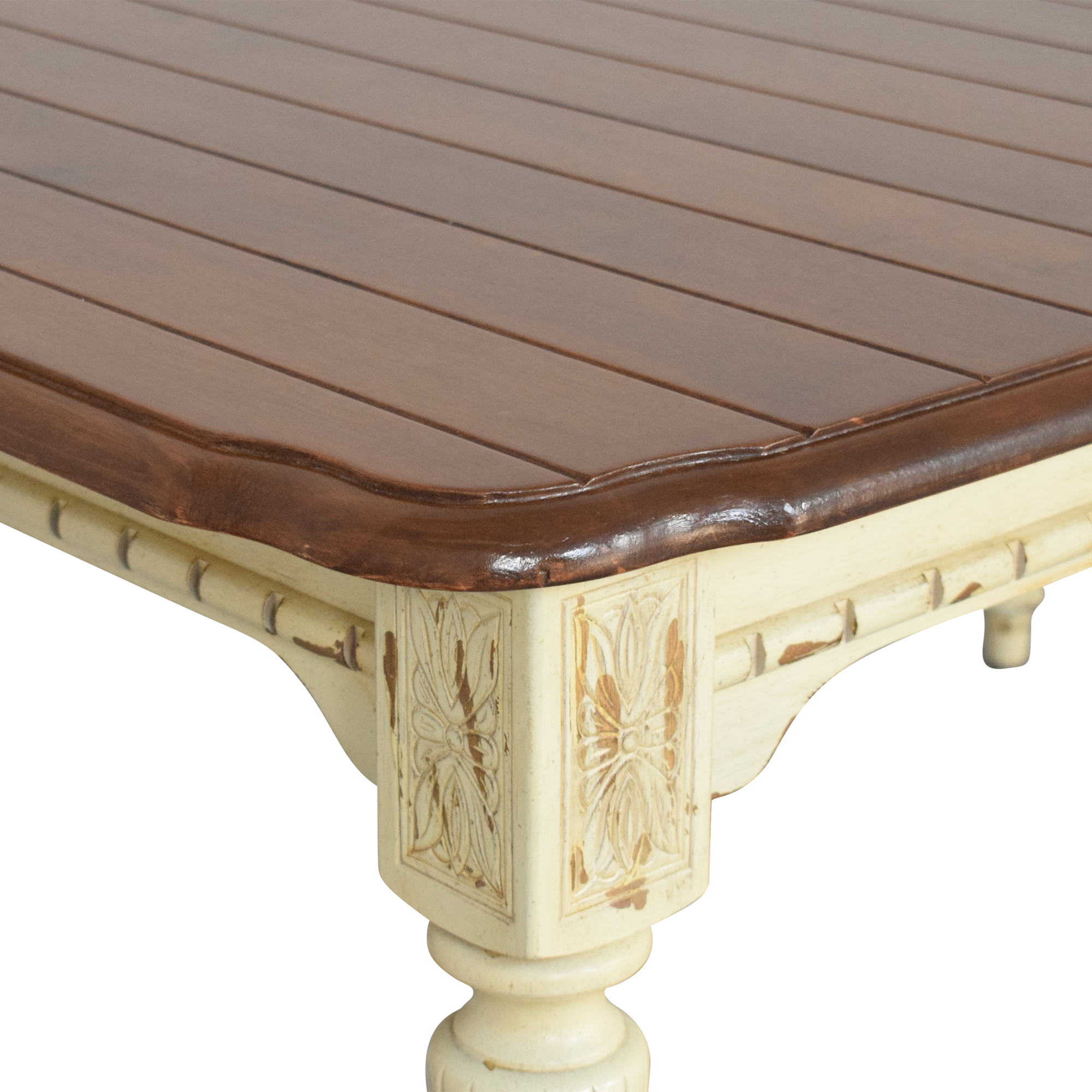Rustic Extendable Dining Table brown & cream
