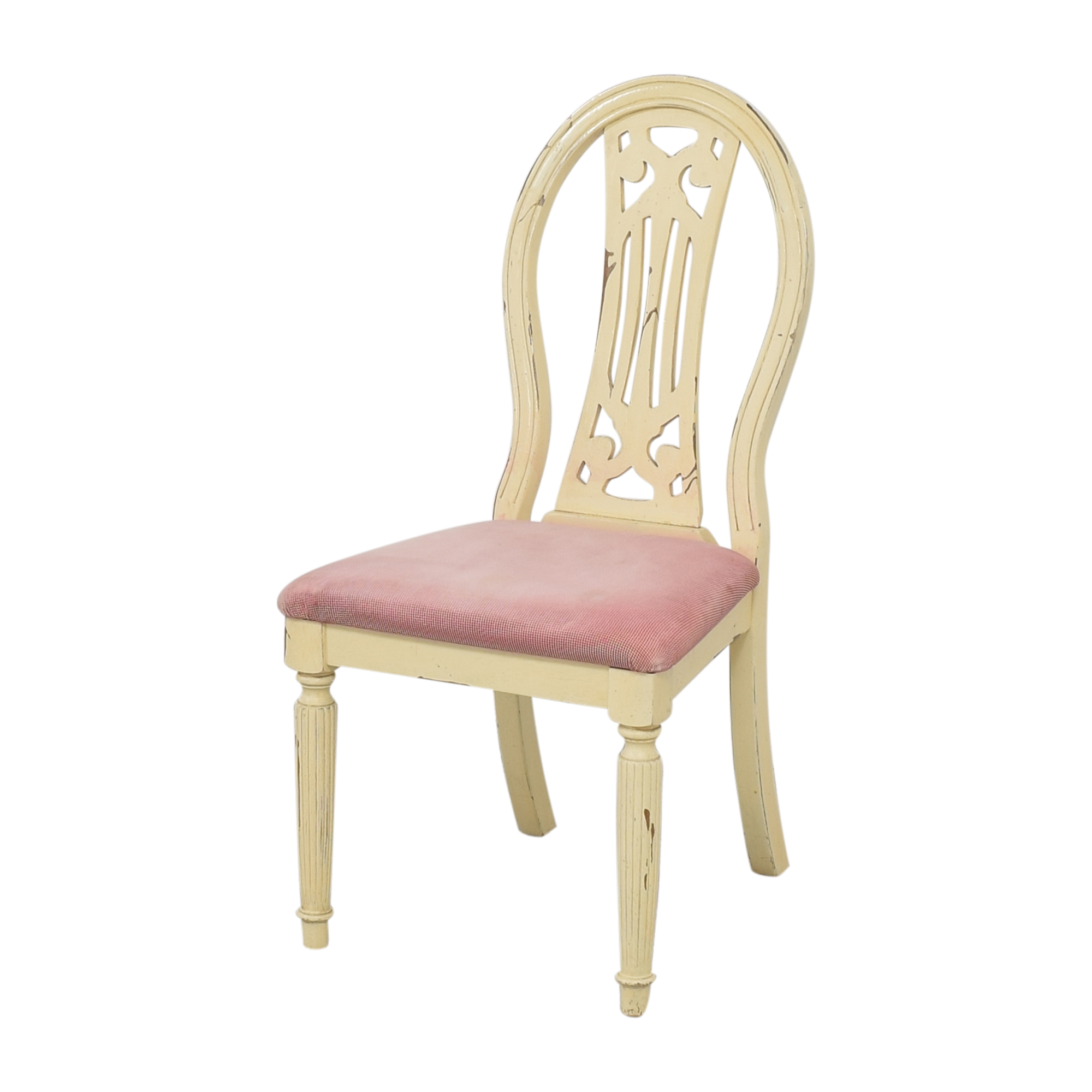 Rustic Upholstered Seat Dining Chairs cream and red