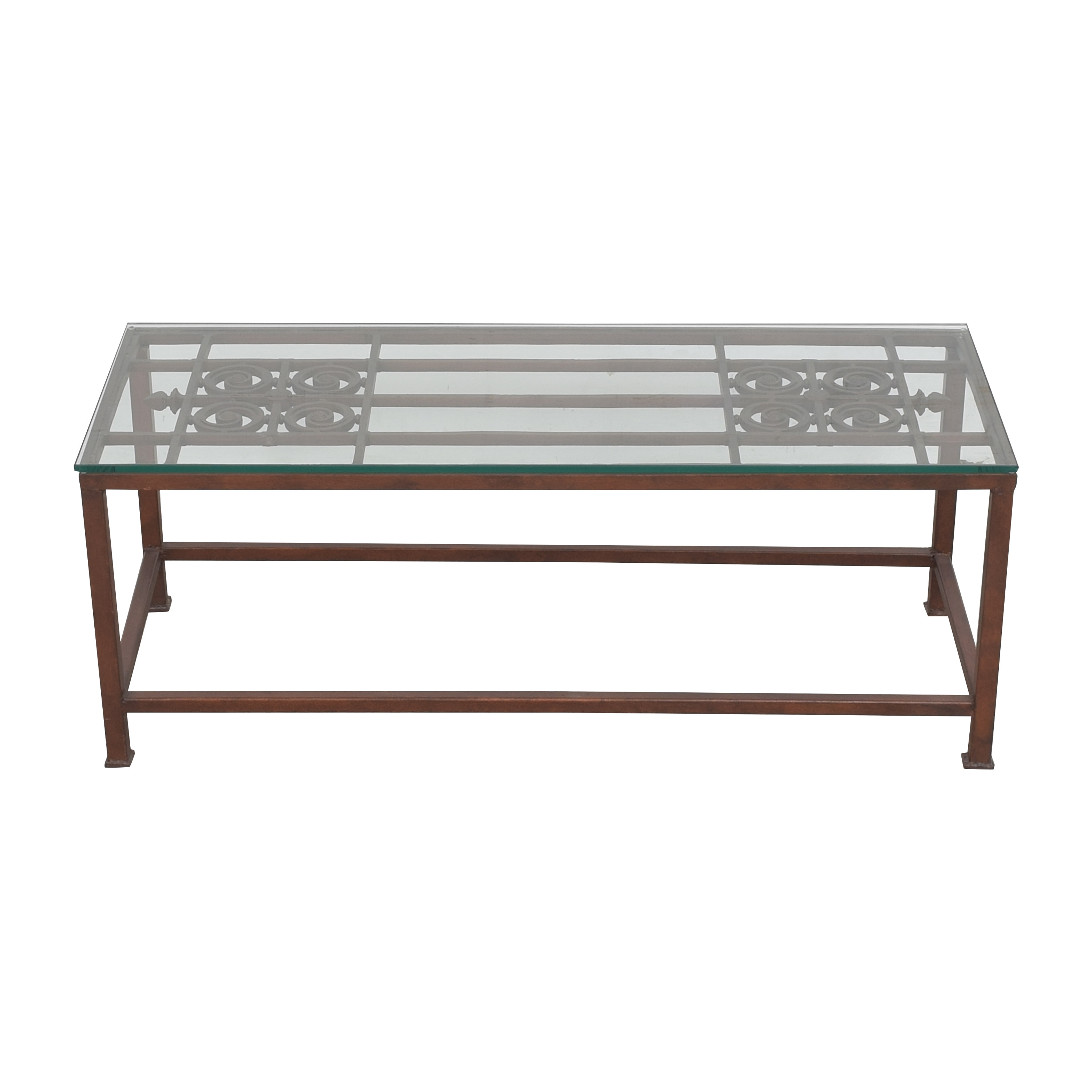 Open Work Coffee Table with Transparent Surface Coffee Tables