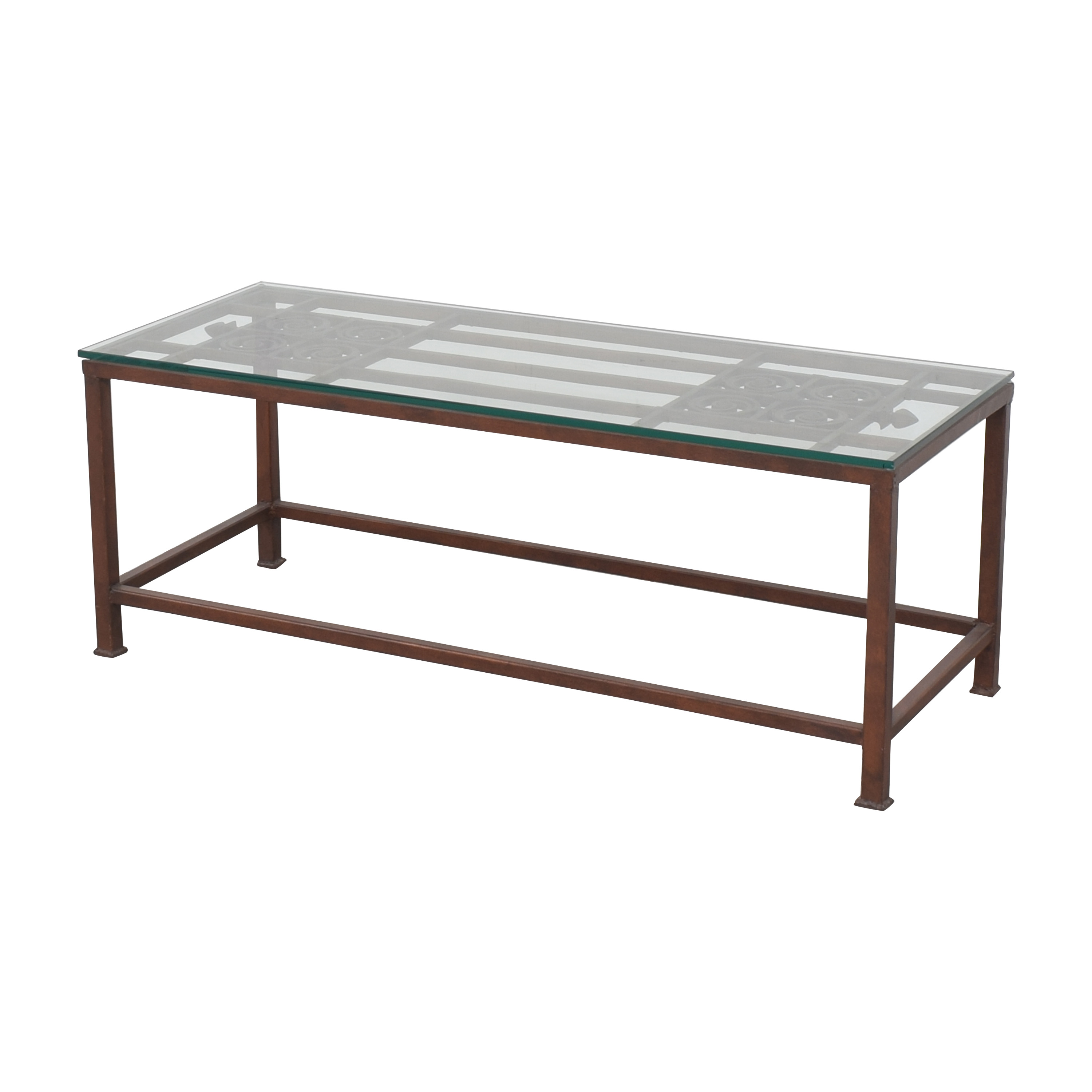 Open Work Coffee Table with Transparent Surface used