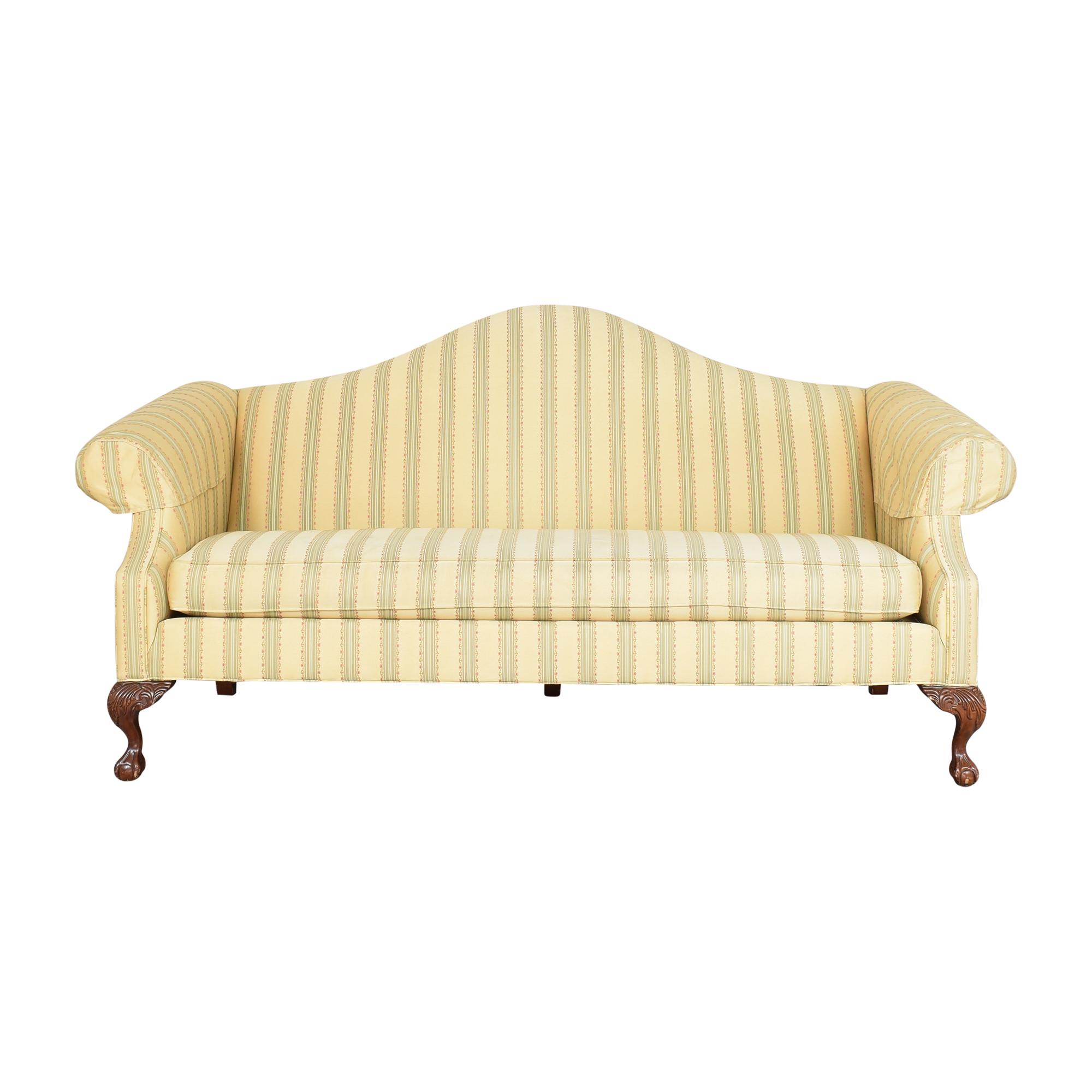 Ethan Allen Camelback Stripe Sofa sale