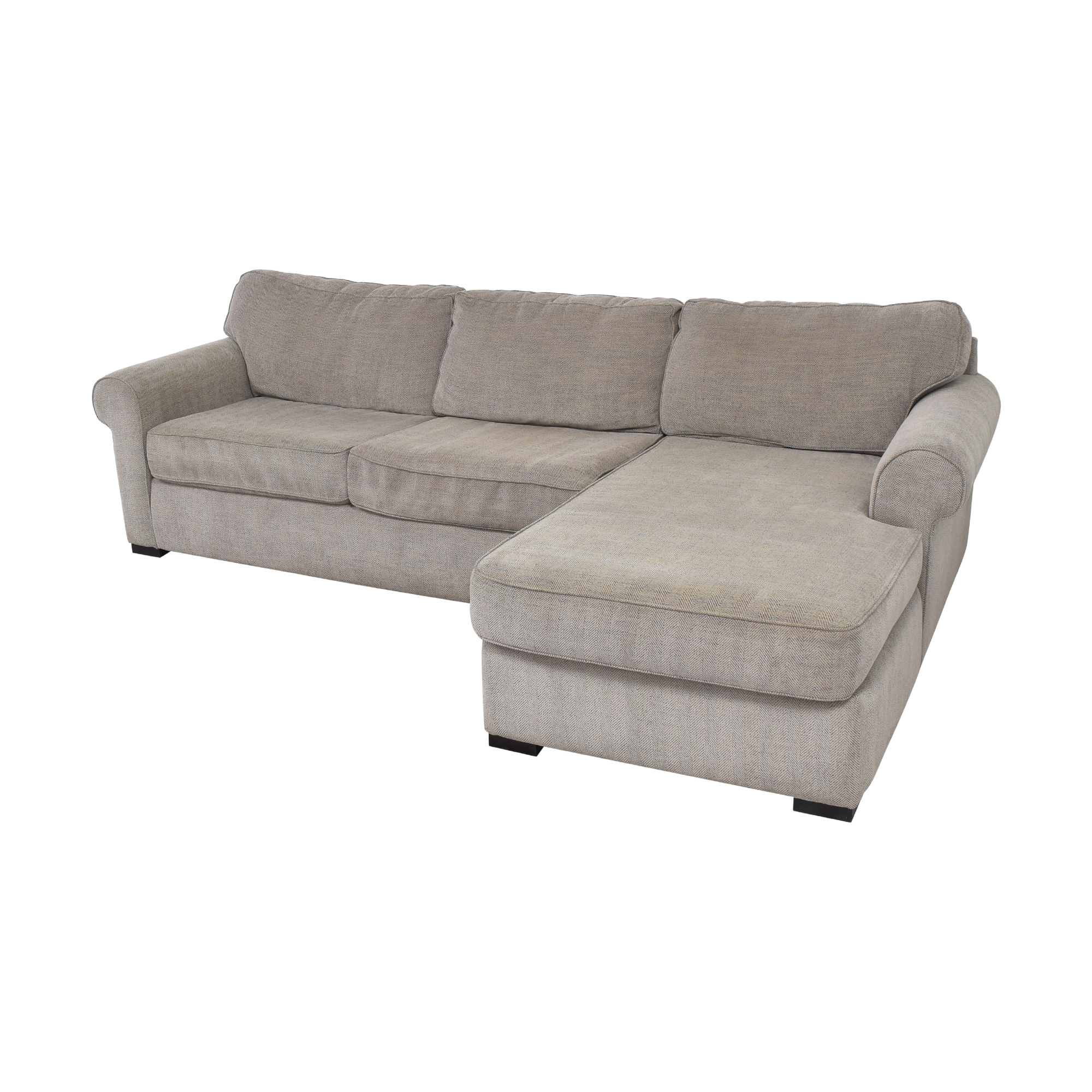 Raymour & Flanigan Raymour & Flanigan Kipling Two Piece Sectional Sofa gray