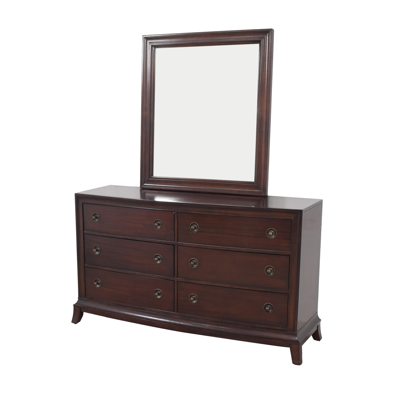 Raymour & Flanigan Raymour & Flanigan Six Drawer Double Dresser with Mirror dark brown
