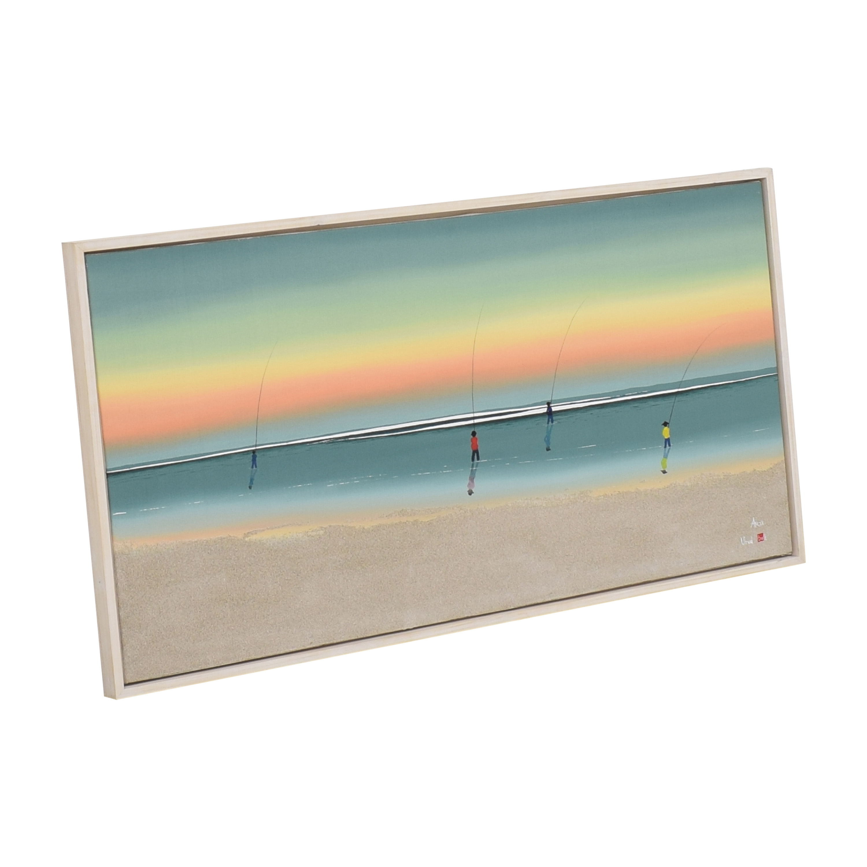 Framed Beach Painting Wall Art nj