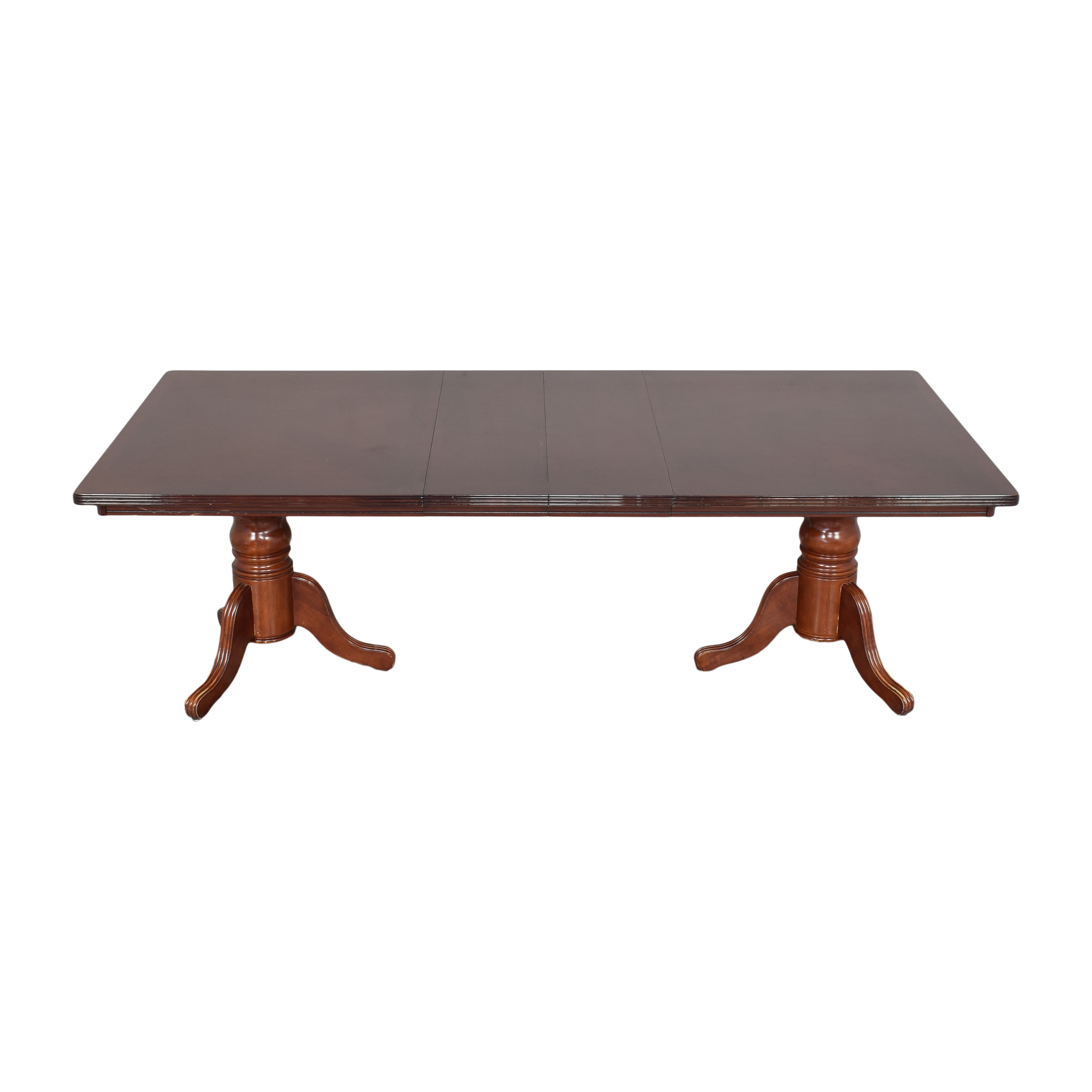 Double Pedestal Extendable Dining Table brown