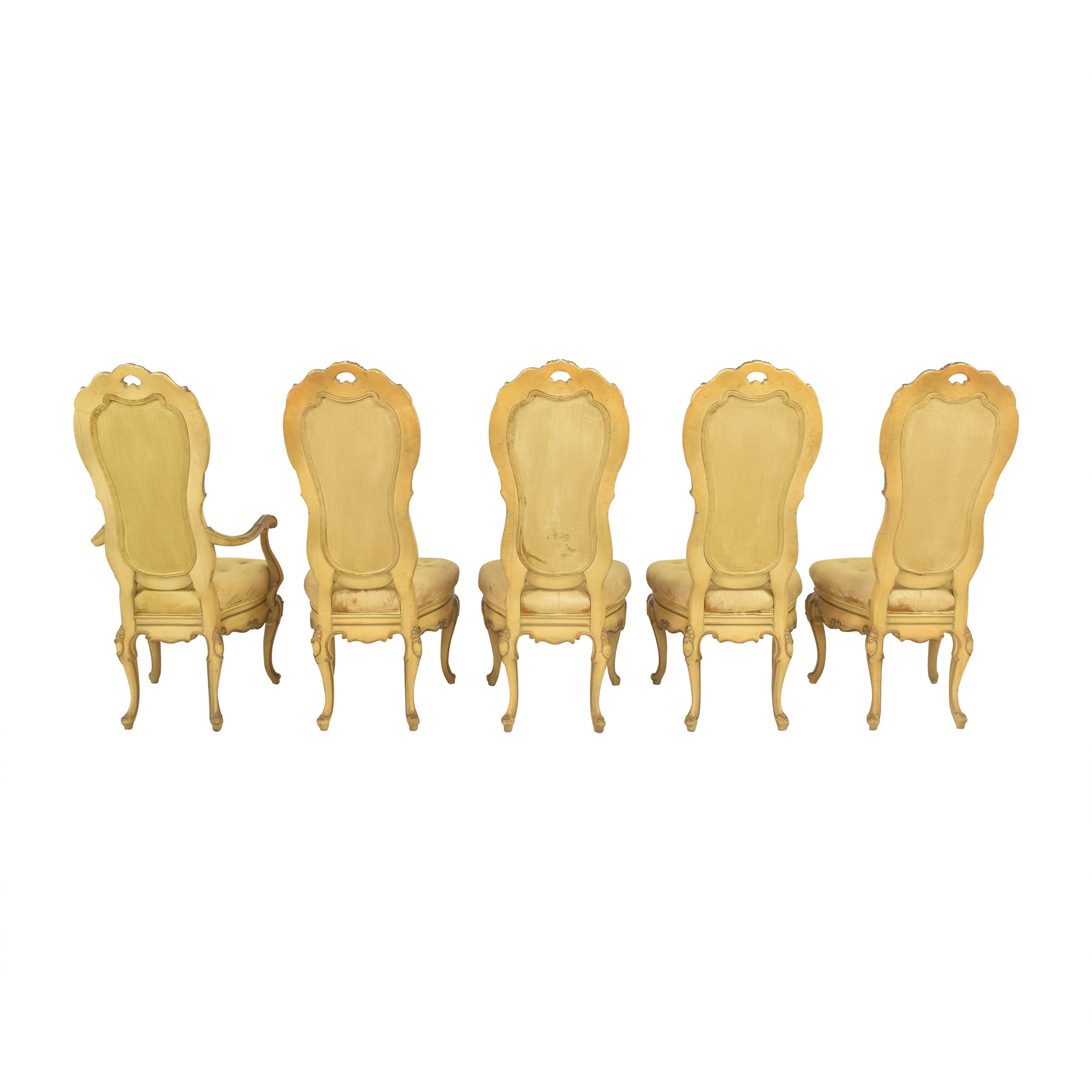 Vintage Carved High Back Dining Chairs for sale