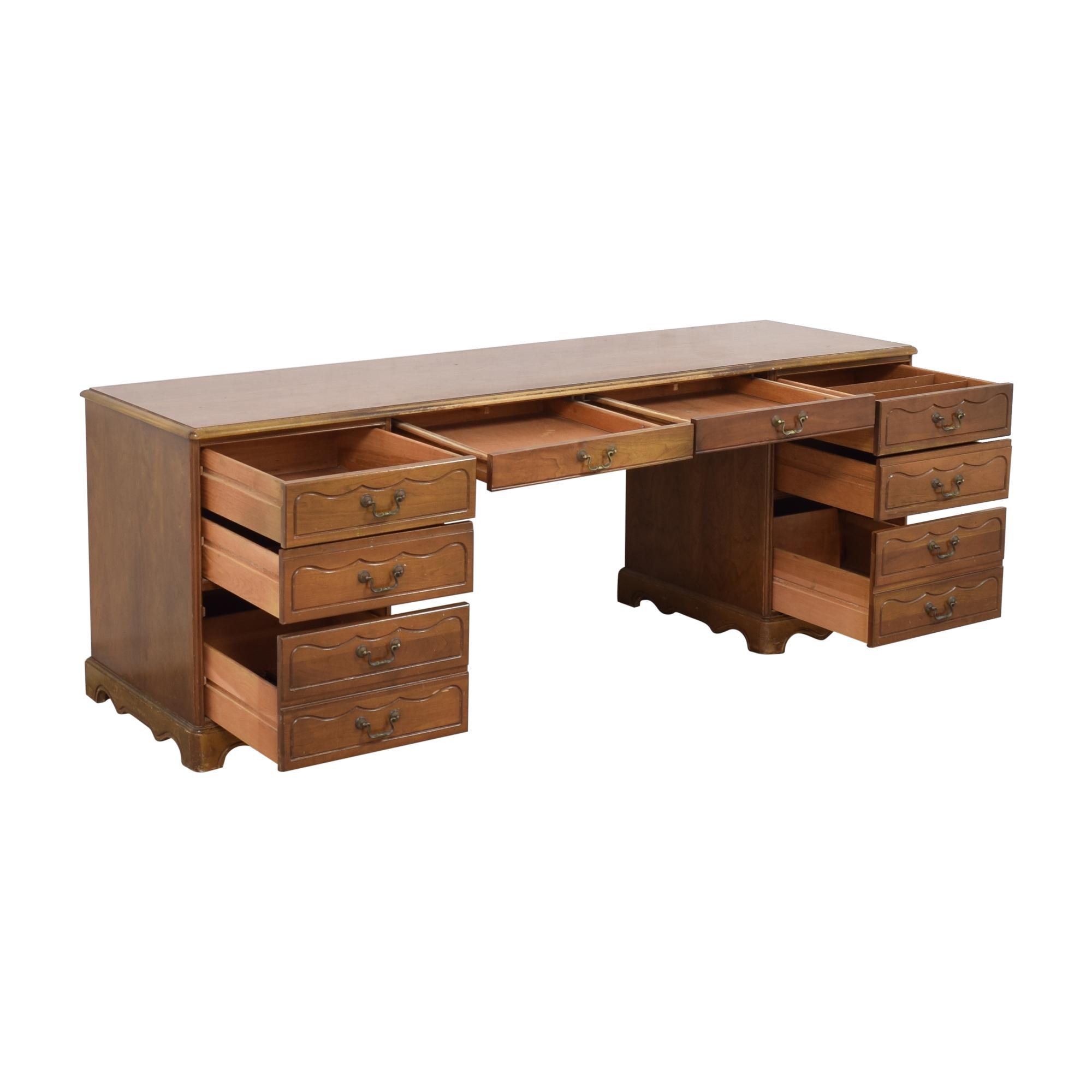buy Vintage Two Pedestal Home Office Desk