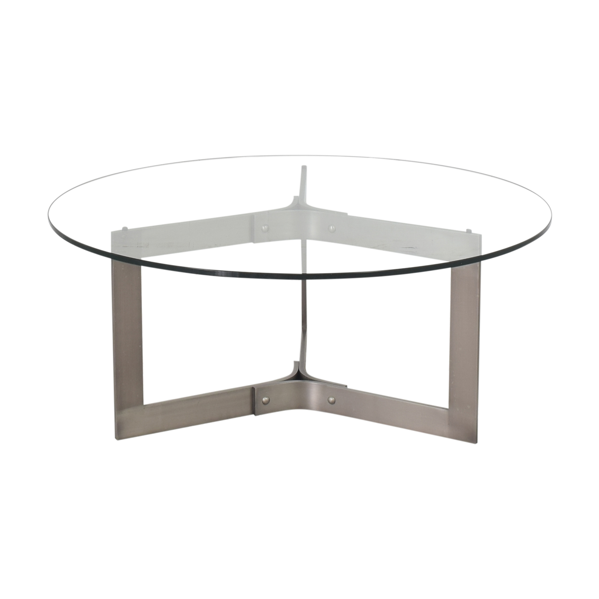 Crate & Barrel Crate & Barrel Round Coffee Table with Transparent Surface discount