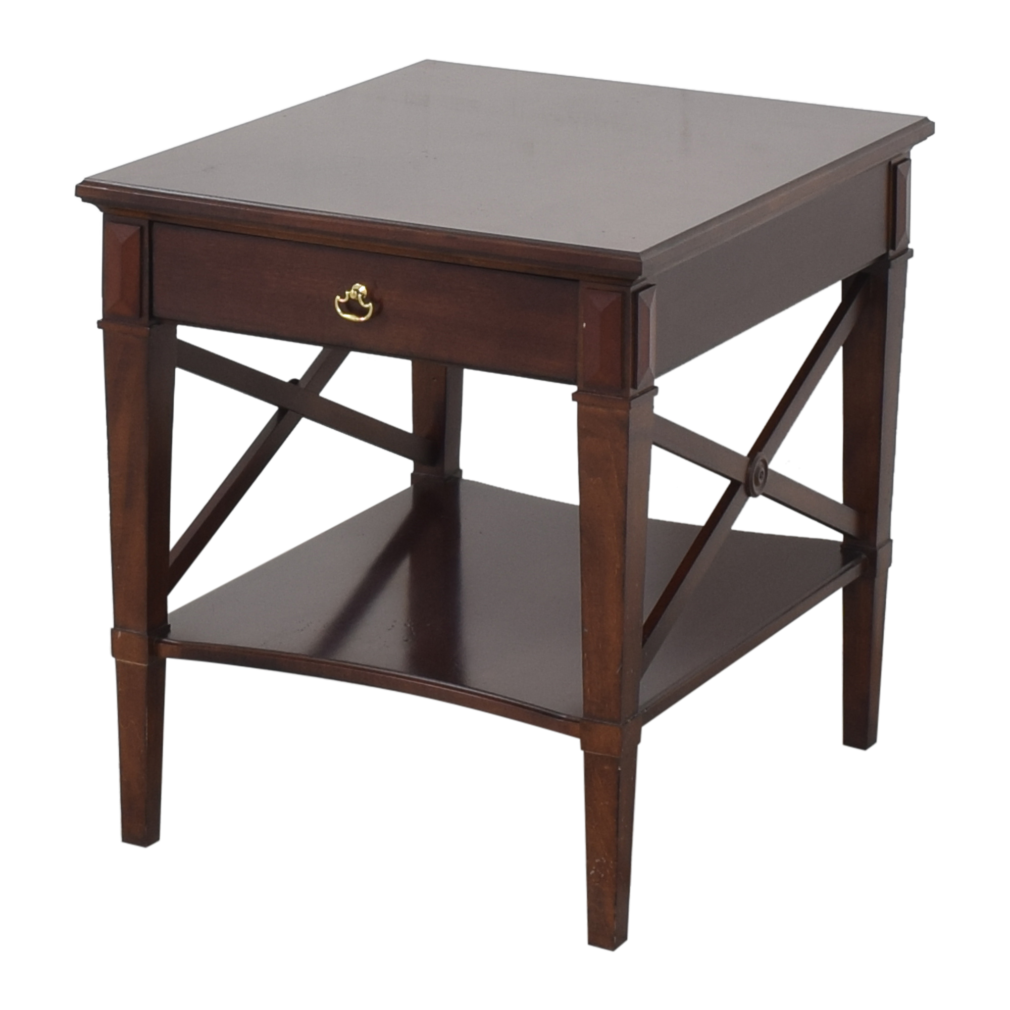 Hickory Chair Hickory Chair One Drawer Side Table dark brown