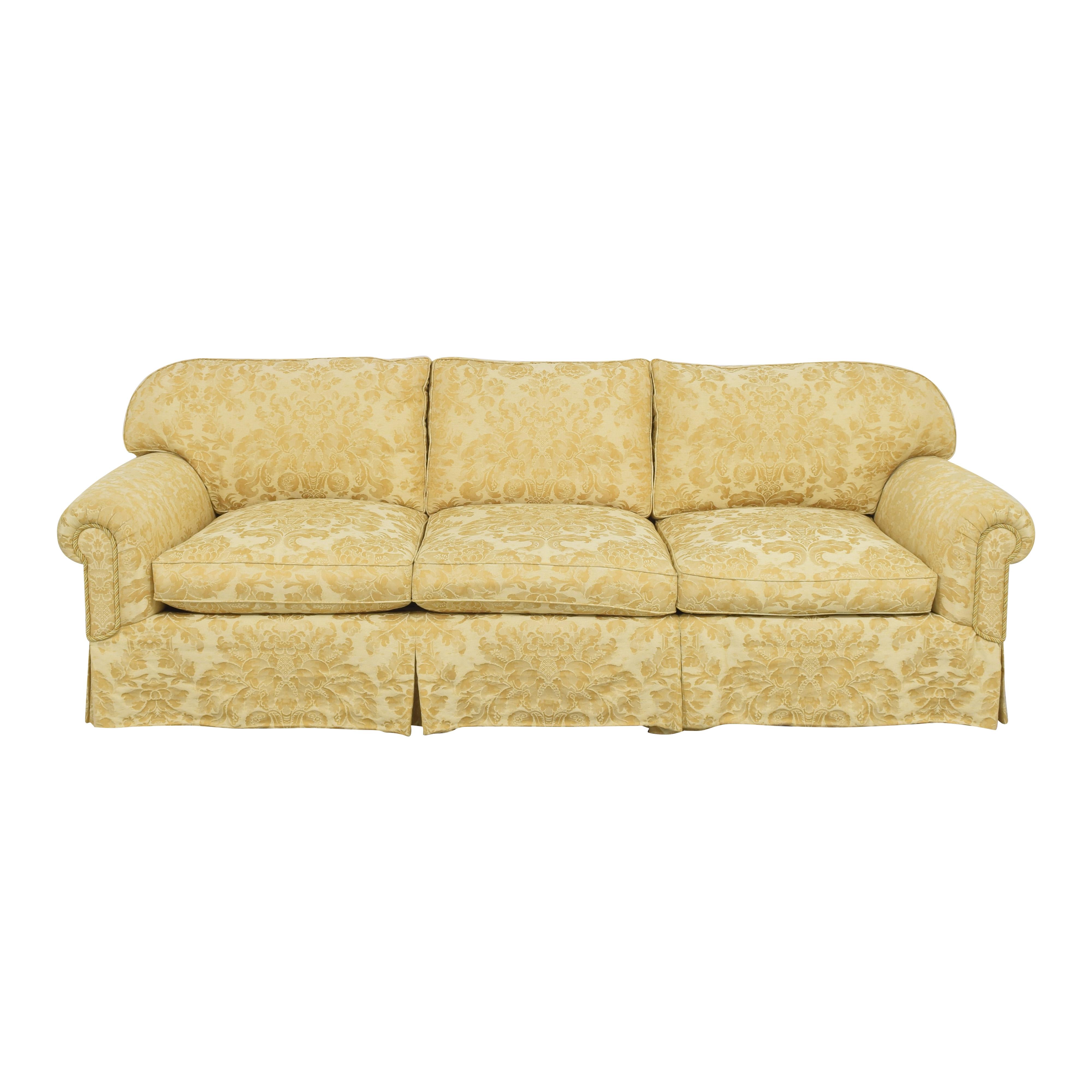 Damask Skirted Sofa yellow